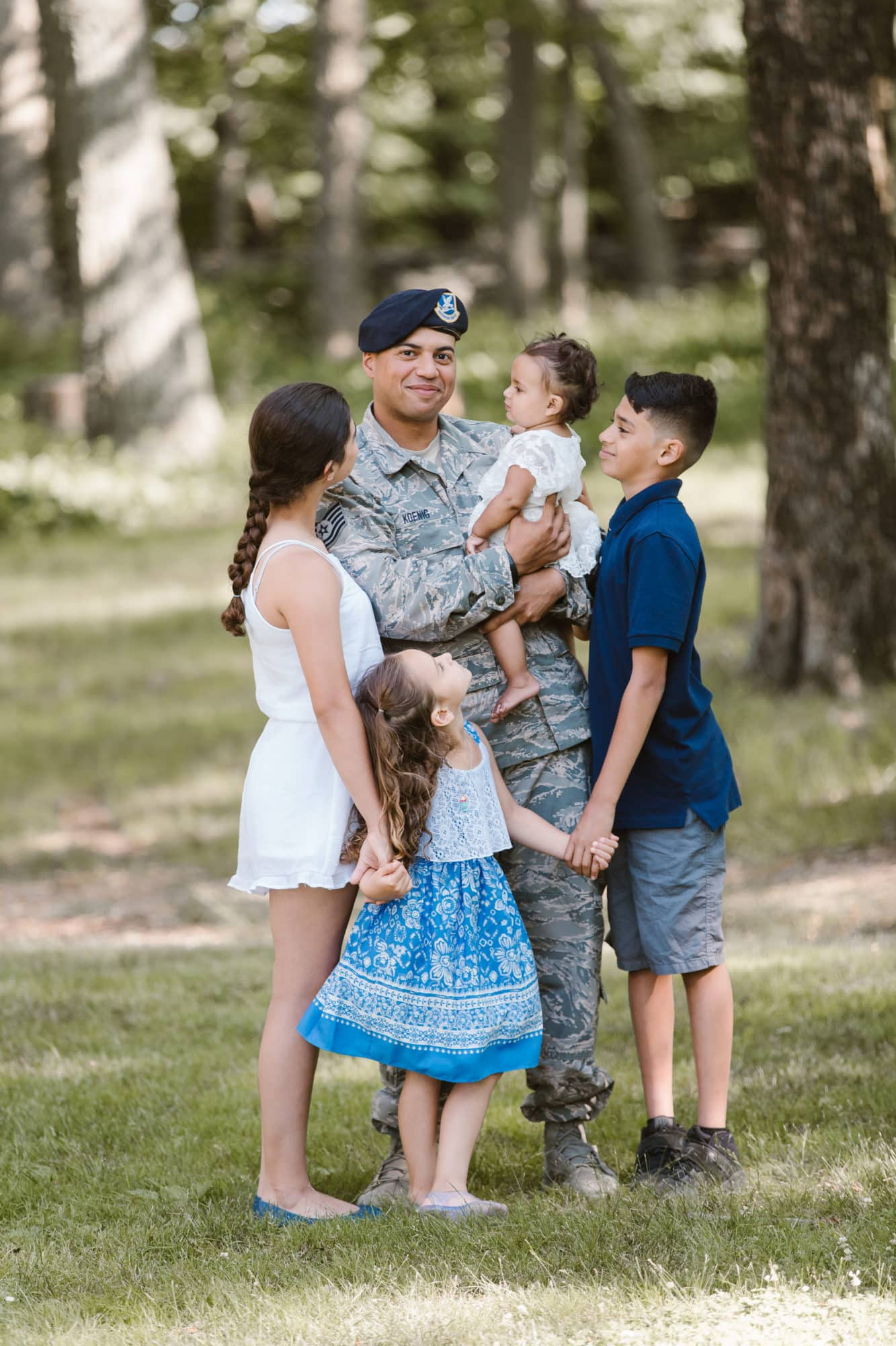 Family portraits celebrating those loved ones who serve our country to thank them for their service photographed by Massart Photography RI