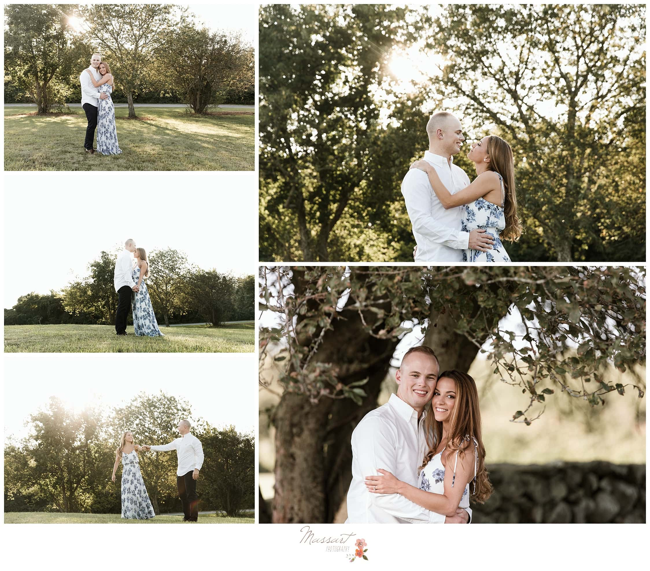 Collage of portraits during the engaged couple's portrait session outdoors in a field during the summertime photographed by Massart Photography RI