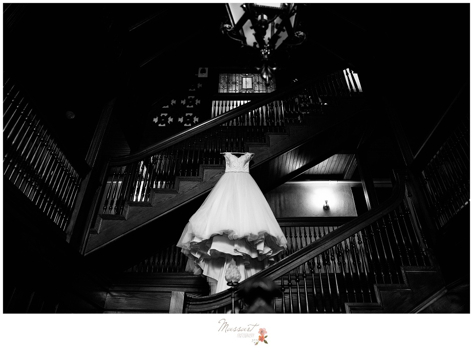 the bride's wedding gown displayed at the ivy lodge in newport, RI photographed by massart photographers