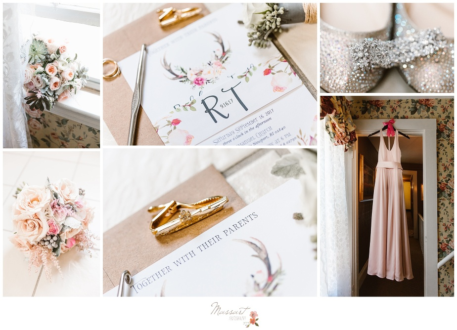 ivy lodge in newport, RI wedding details and dress captured by massart photography