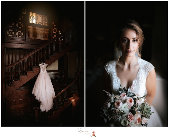 A timeless photo of the bride at the Ivy Lodge in Newport, RI and her wedding gown
