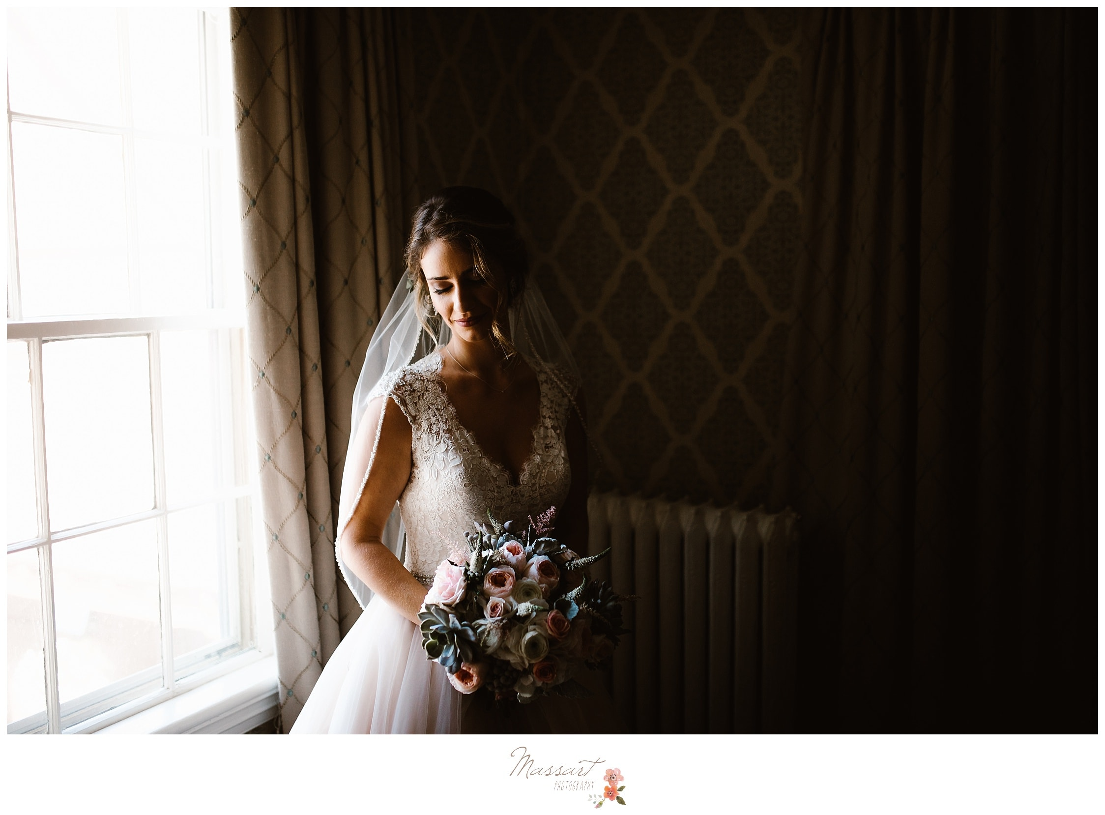 Dramatic portrait of the bride by massart photographers in Rhode Island