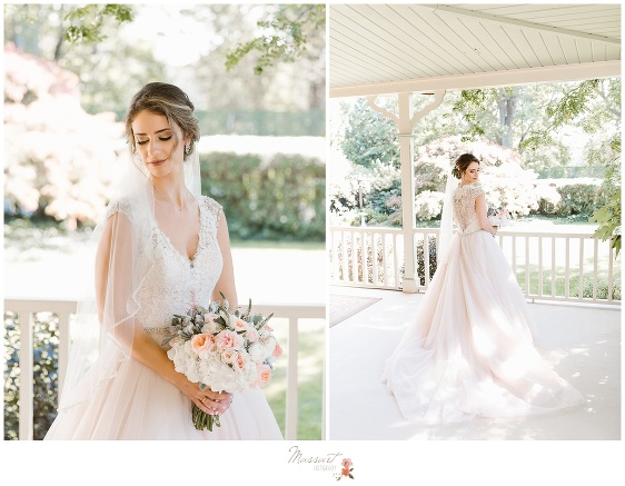 Bright and airy portraits of the bride at the ivy lodge in newport, RI