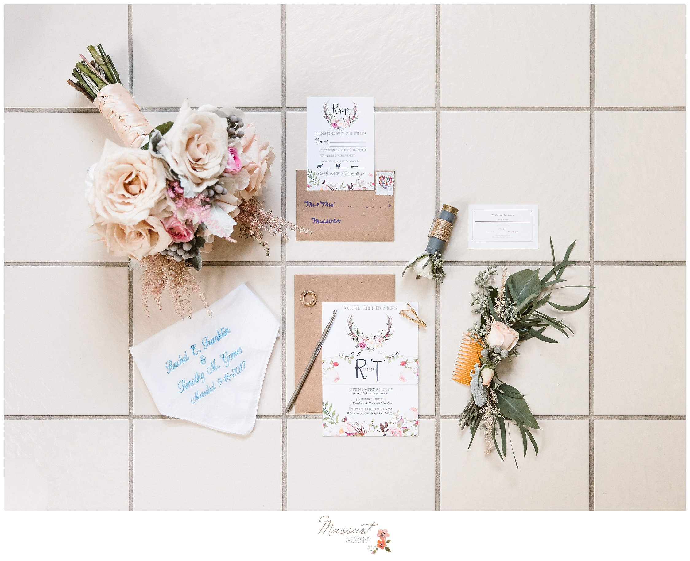 wedding invitation and details for rhode island wedding