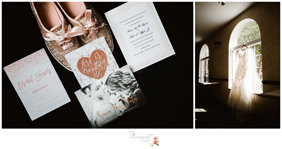 Detail portraits of the wedding announcements and invitations before the wedding ceremony photographed by Massart Photography Rhode Island