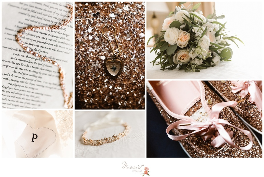 Detail portraits of the bride's shoes, jewelry and bouquet before the wedding ceremony photographed by Massart Photography RI