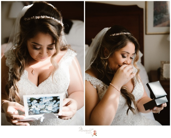 Bride opens a letter from her soon-to-be husband before the wedding ceremony photographed by Massart Photography RI