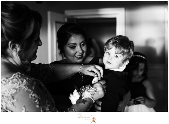Bride with her nephew before wedding ceremony photographed by Massart Photography Rhode Island
