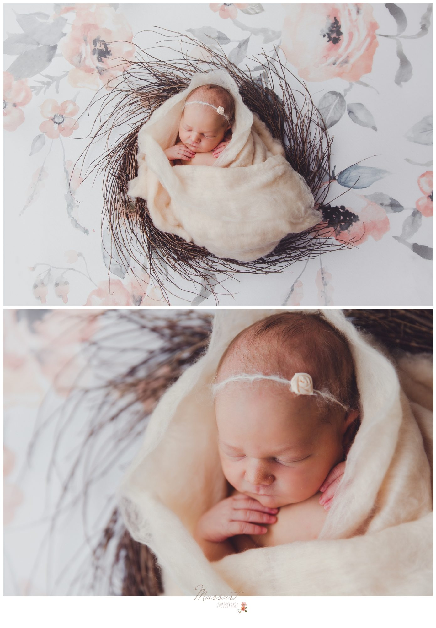 Newborn baby girl with floral background during newborn portrait session photographed by Massart Photography RI