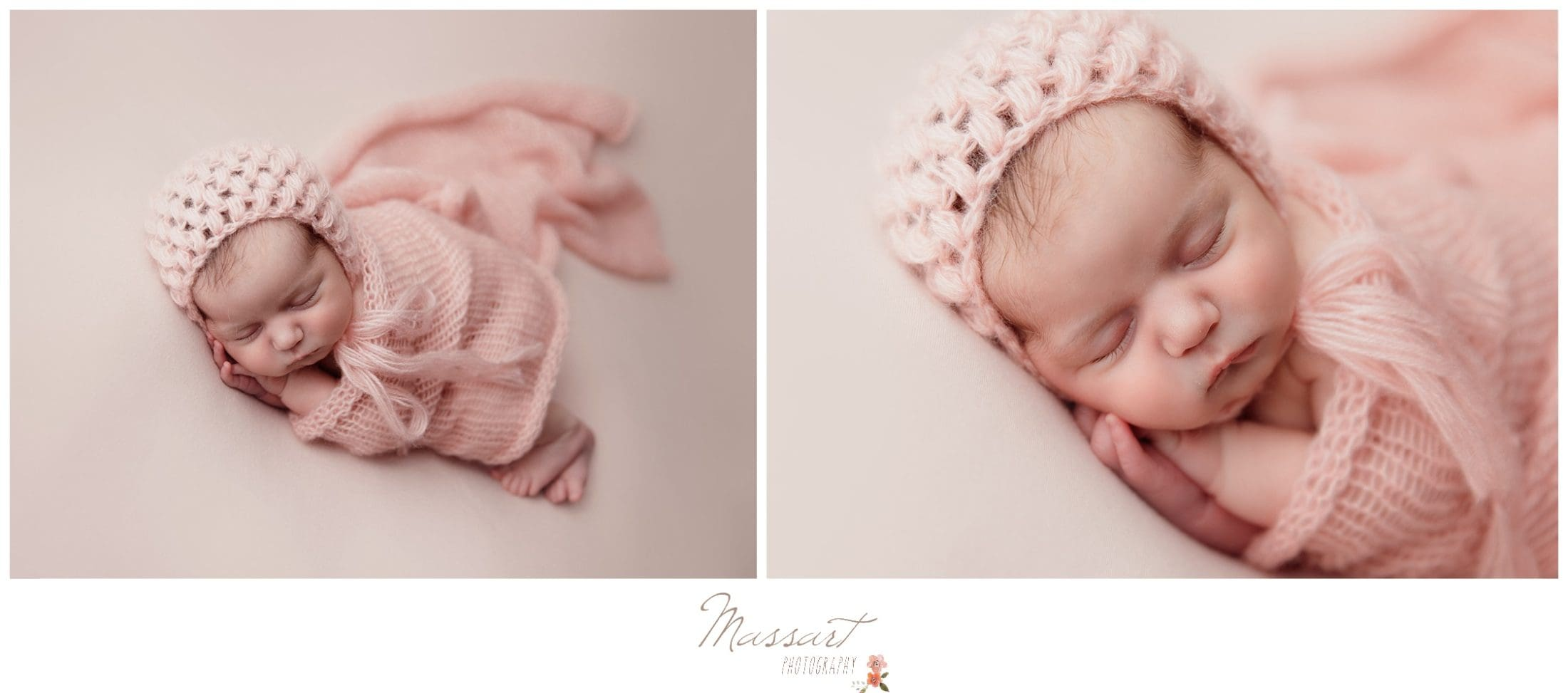 Baby girl wrapped in pink blanket and bonnet photographed by Massart Photography Rhode Island