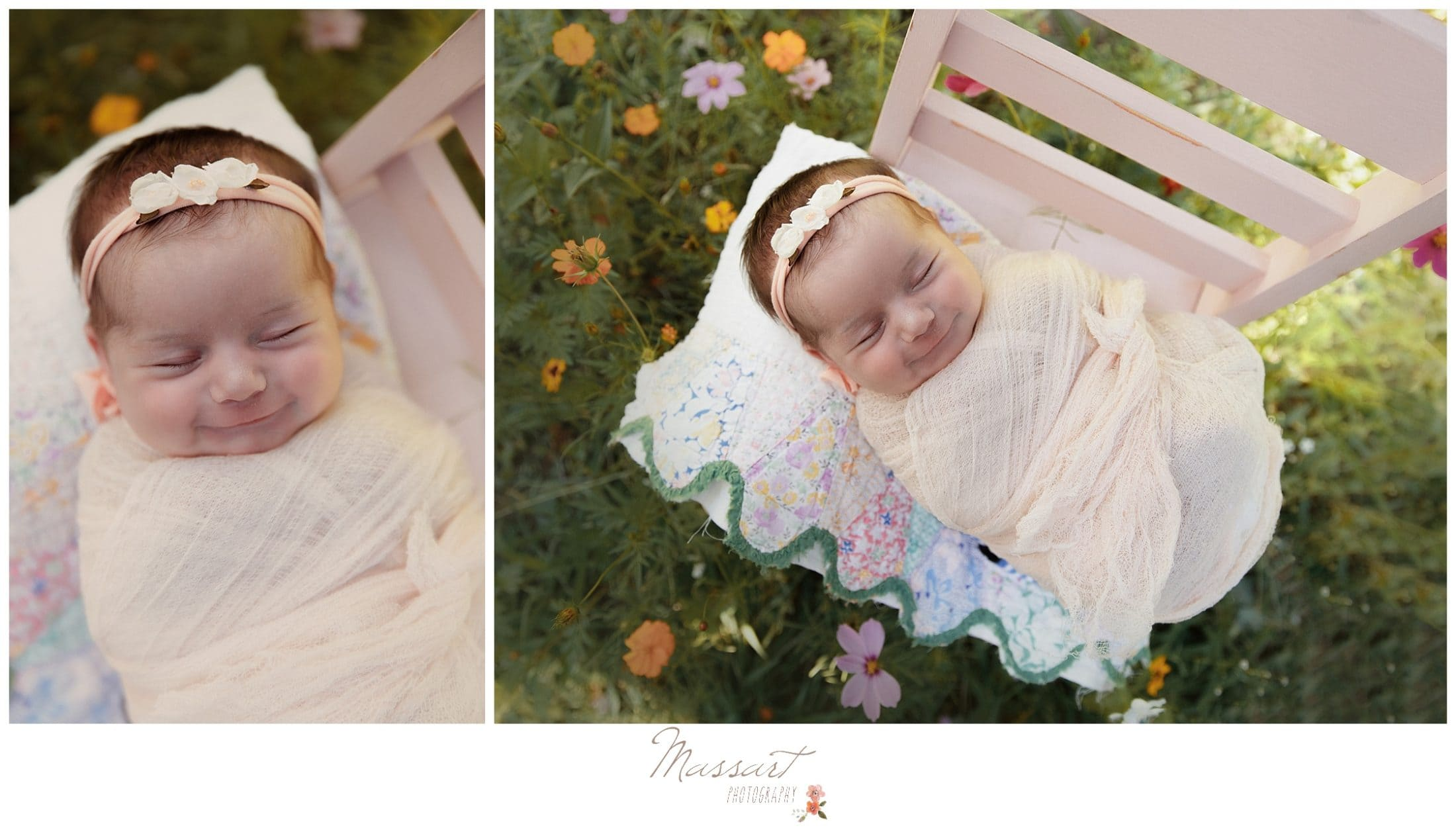 Baby girl lays on chair in colorful garden outdoors during newborn session photographed by Massart Photography RI