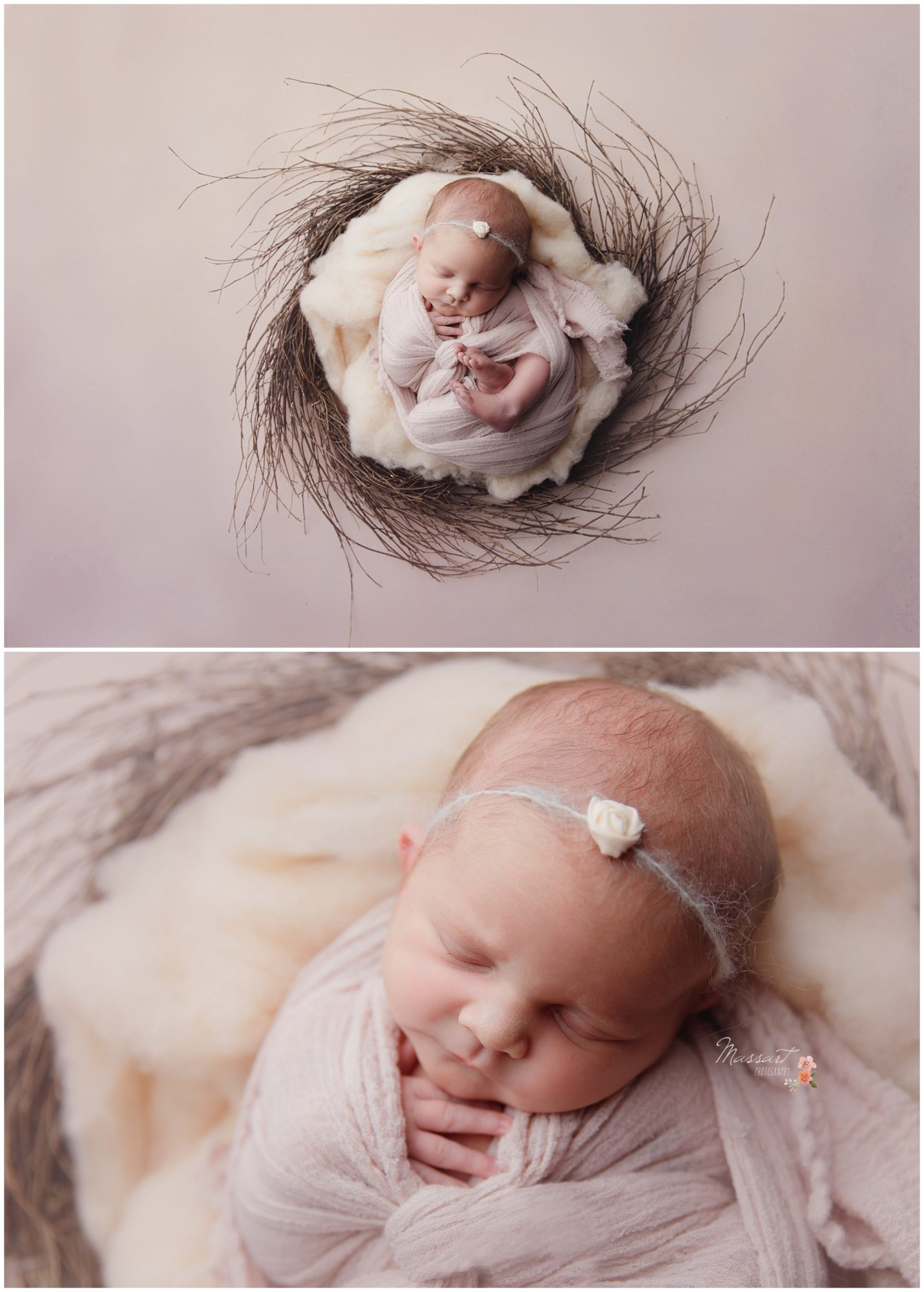 Baby lays in wreath of twigs with wrapped in pink photographed by Massart Photography RI