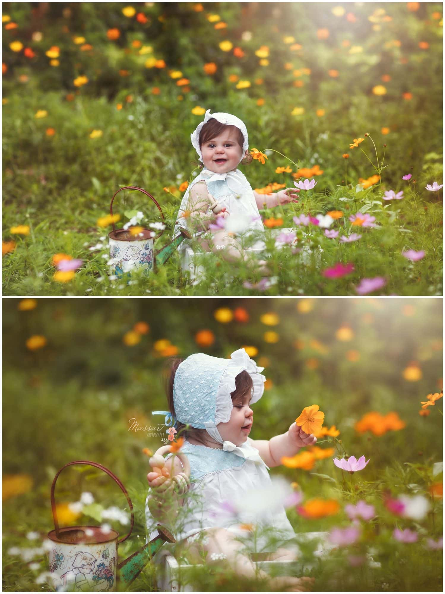 Baby girl sits in floral garden during her milestone portrait session photographed by Massart Photography Rhode Island