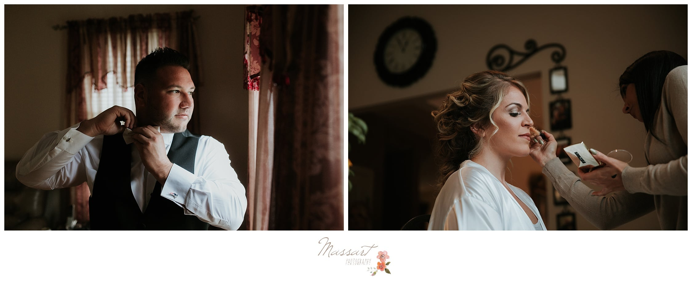 The bride and groom get ready for their Biltmore wedding photographed by Massart Photography Rhode Island