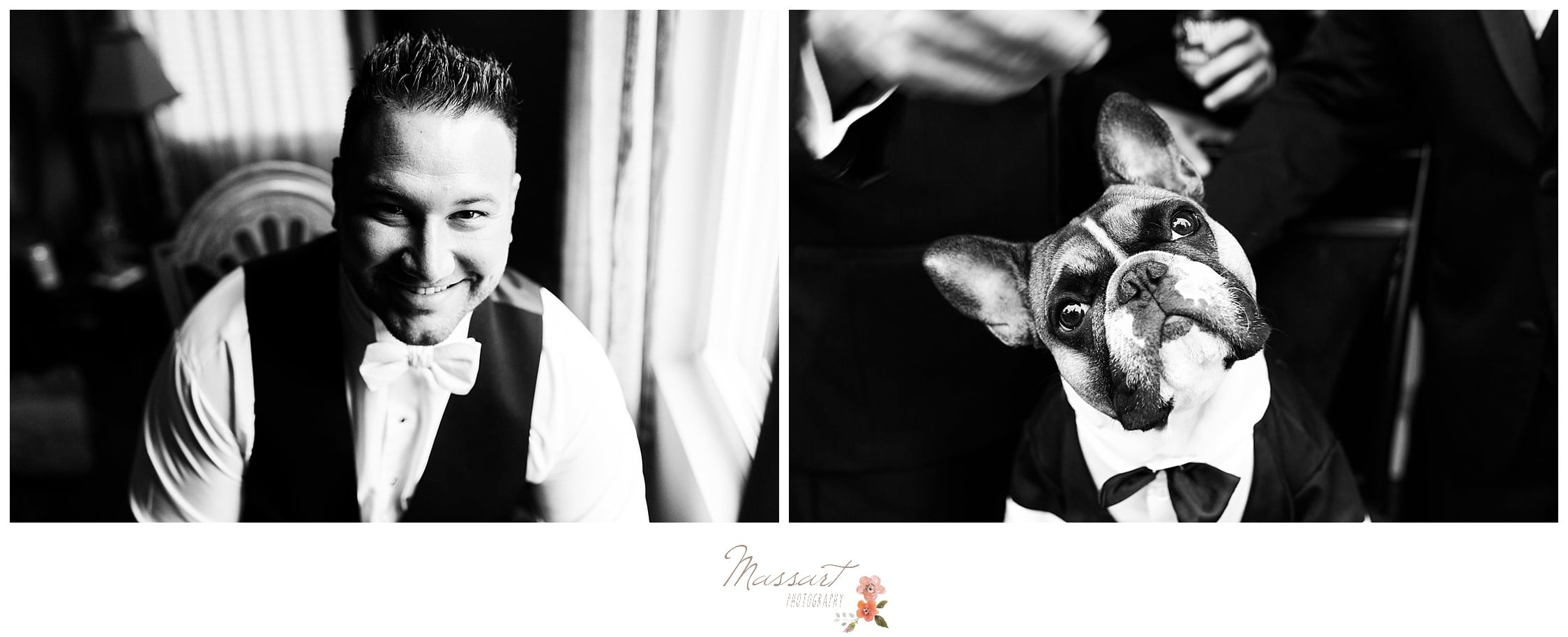 Black and white portraits of the groom and his bulldog before the wedding ceremony photographed by Massart Photography Rhode Island