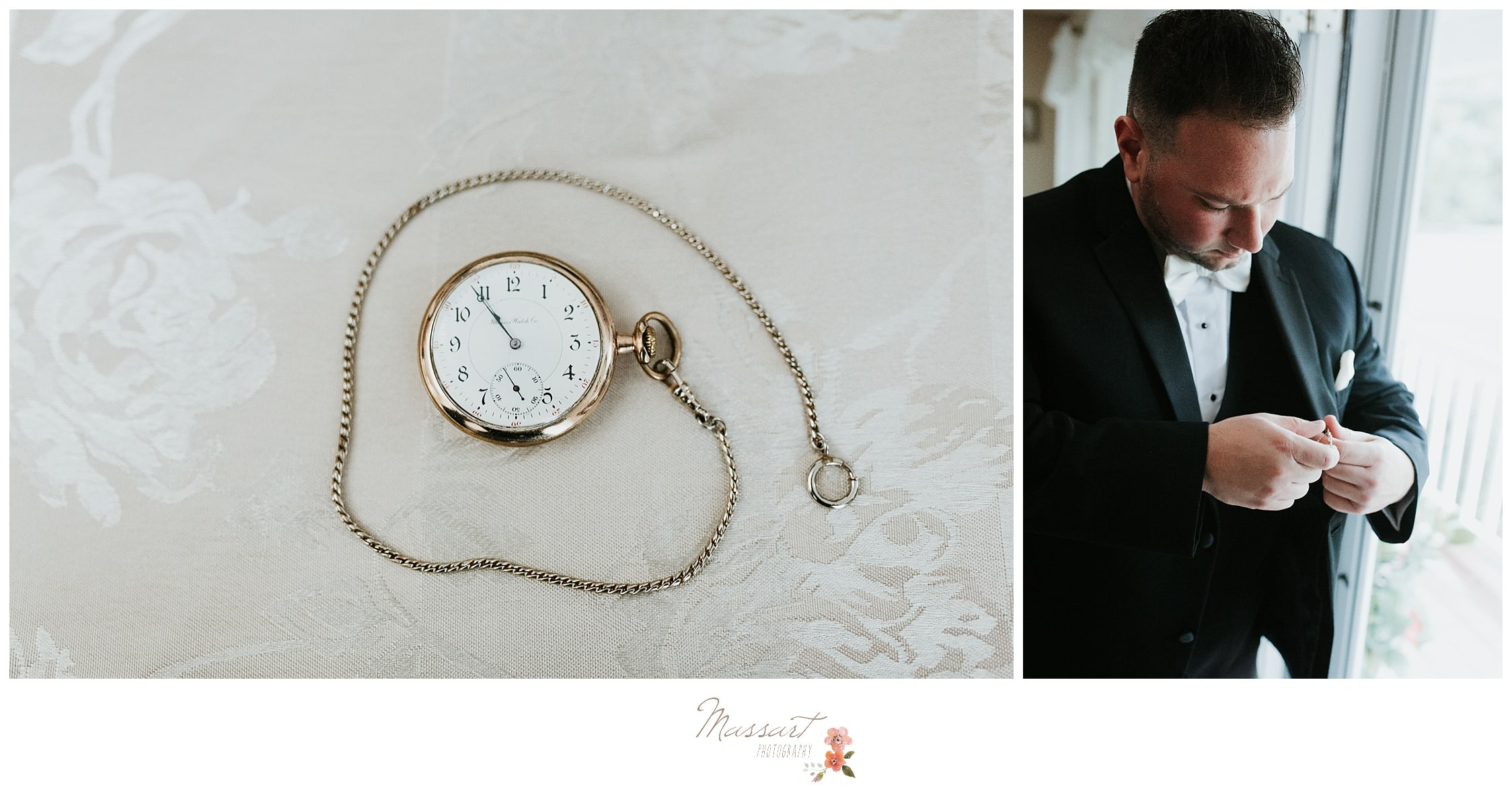 Detail portraits of the groom's watch and him getting ready before the Providence, Rhode Island wedding photographed by Massart Photography RI