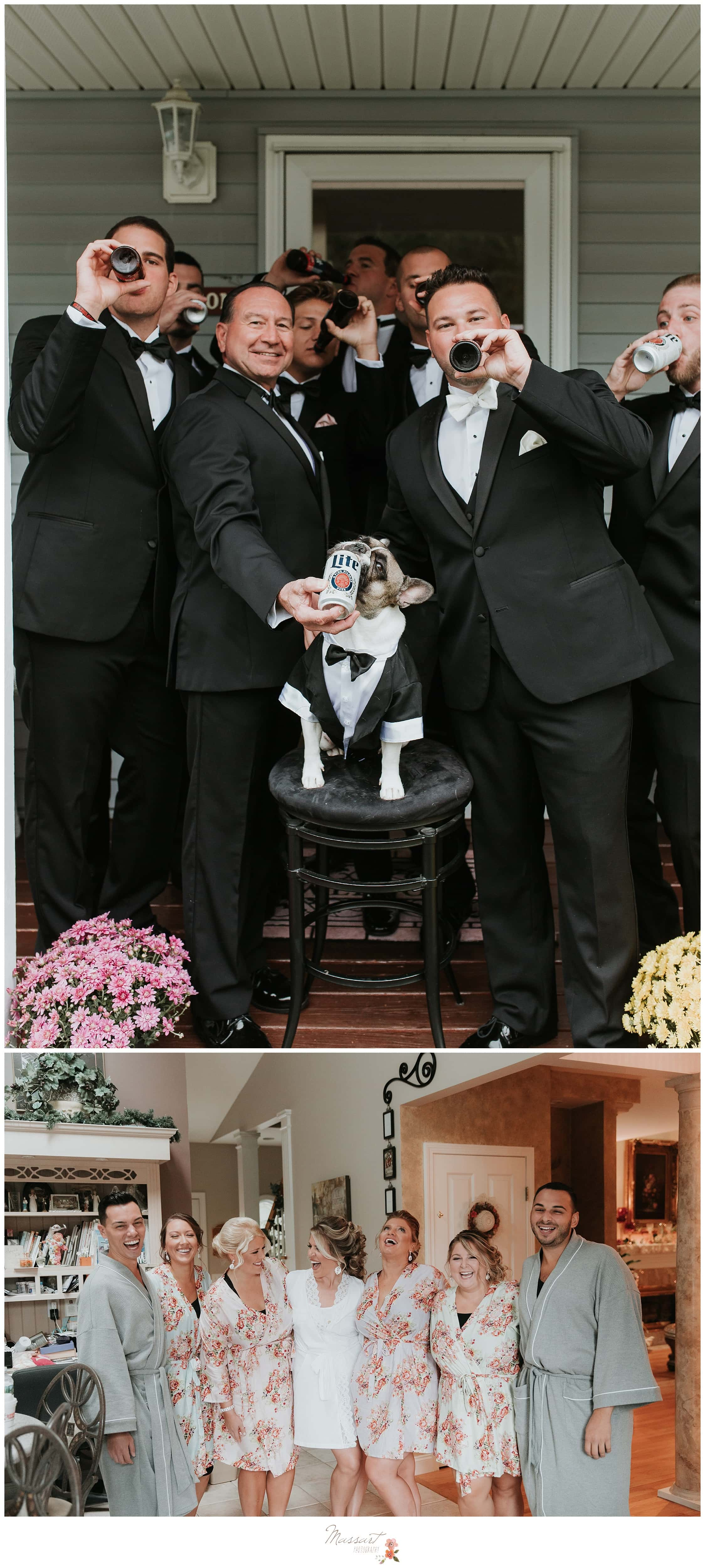 Formal portraits of the groomsmen, including their pup, and the bridal party getting ready for the Providence, RI wedding photographed by Massart Photography Rhode Island