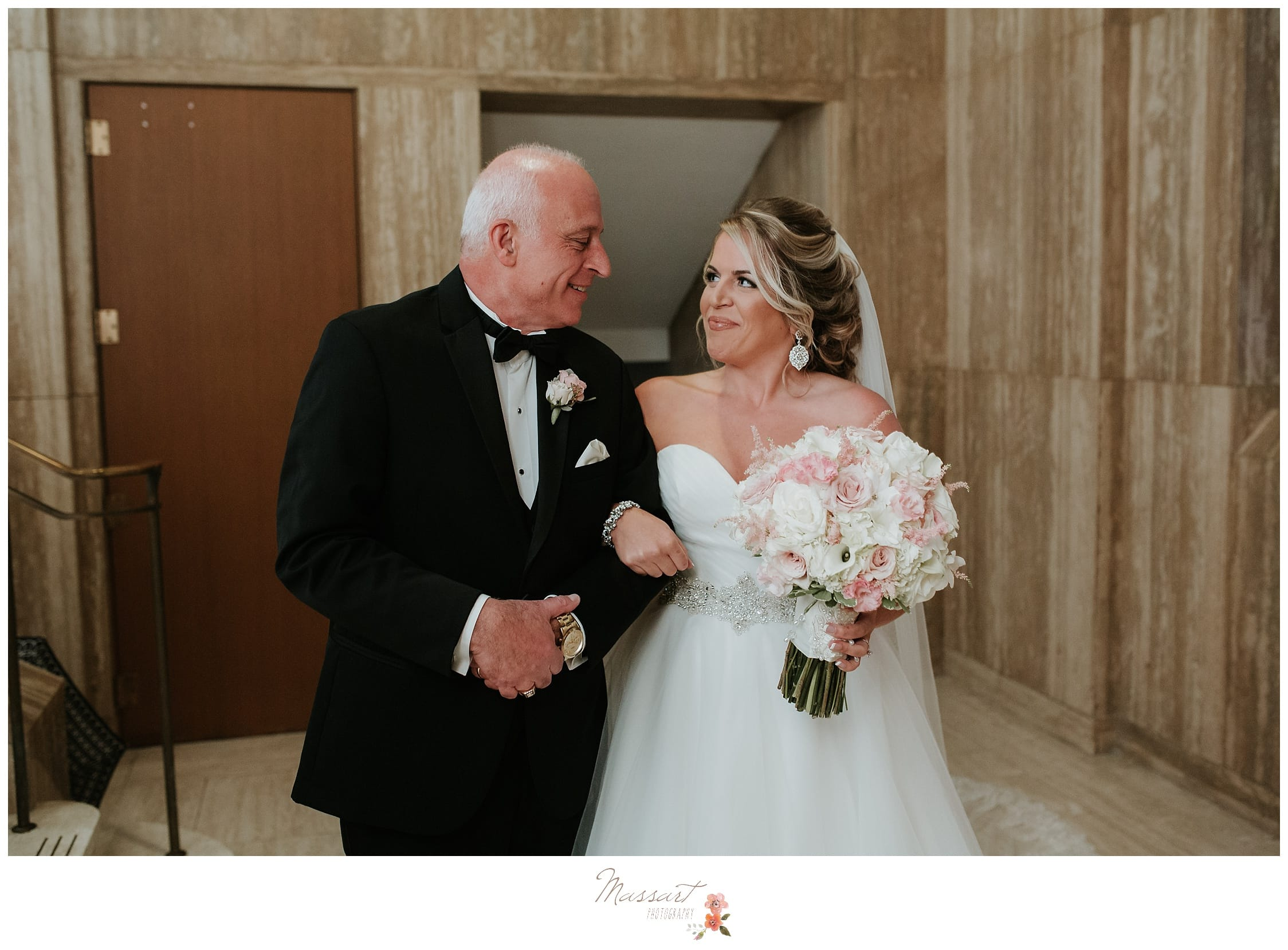The bride and her father about to walk down the aisle photographed by Massart Photography RI