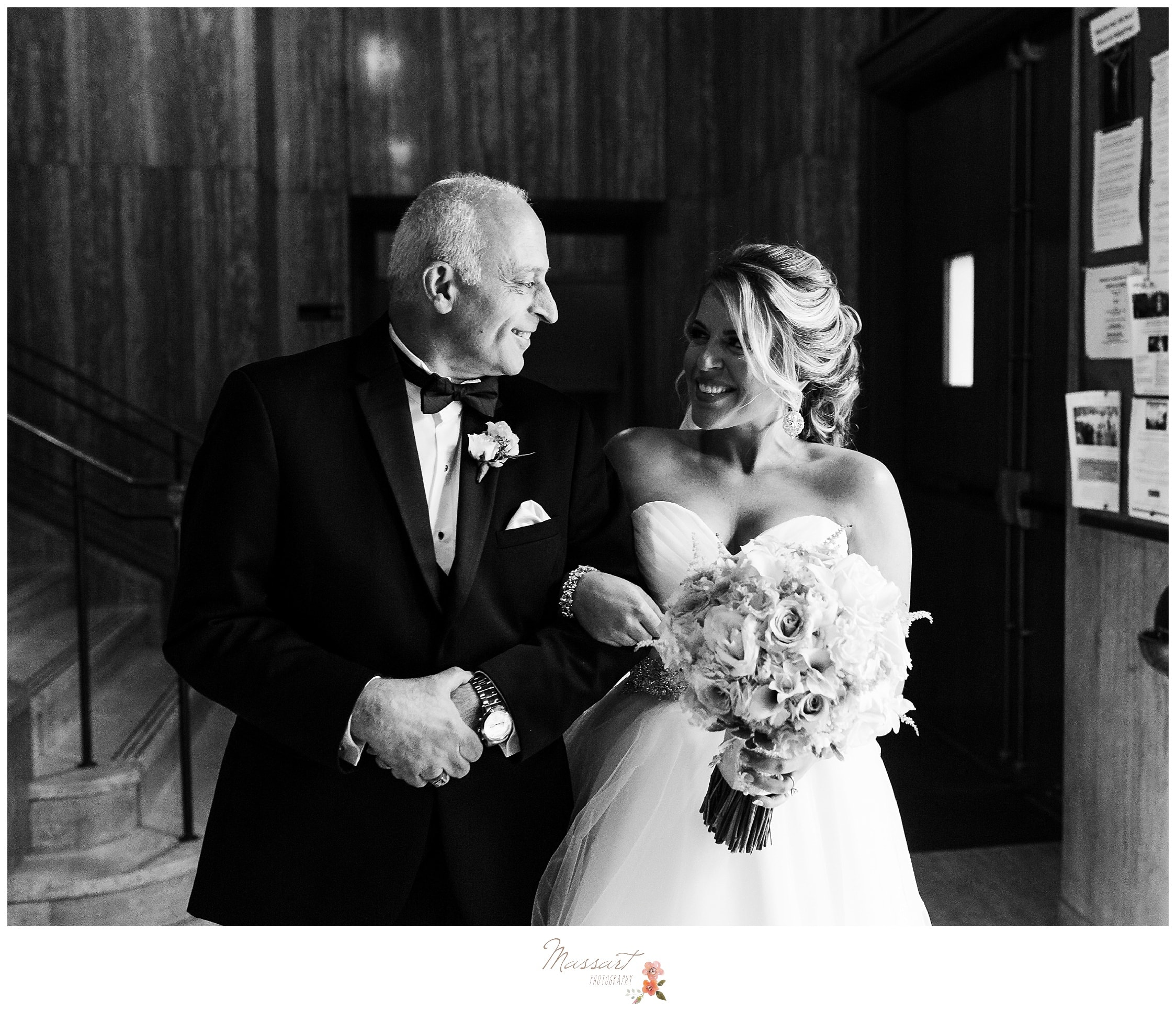 Black and white portraits of the bride and her father getting ready to walk down the aisle at the Providence wedding photographed by Massart Photography RI