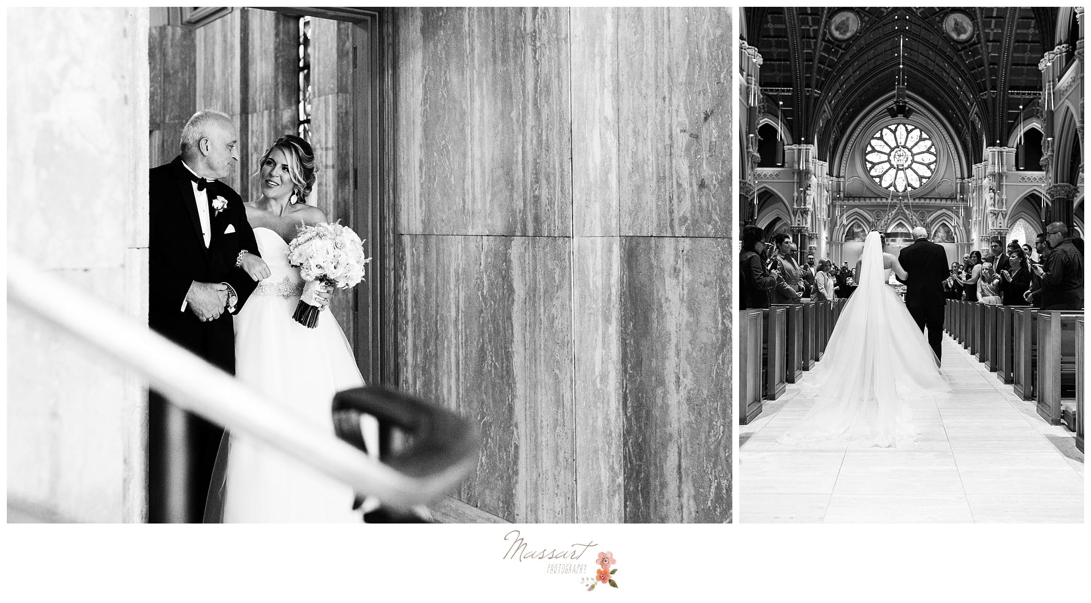Black and white portraits of the father of the bride walking his daughter down the aisle during the wedding ceremony photographed by Massart Photography Rhode Island