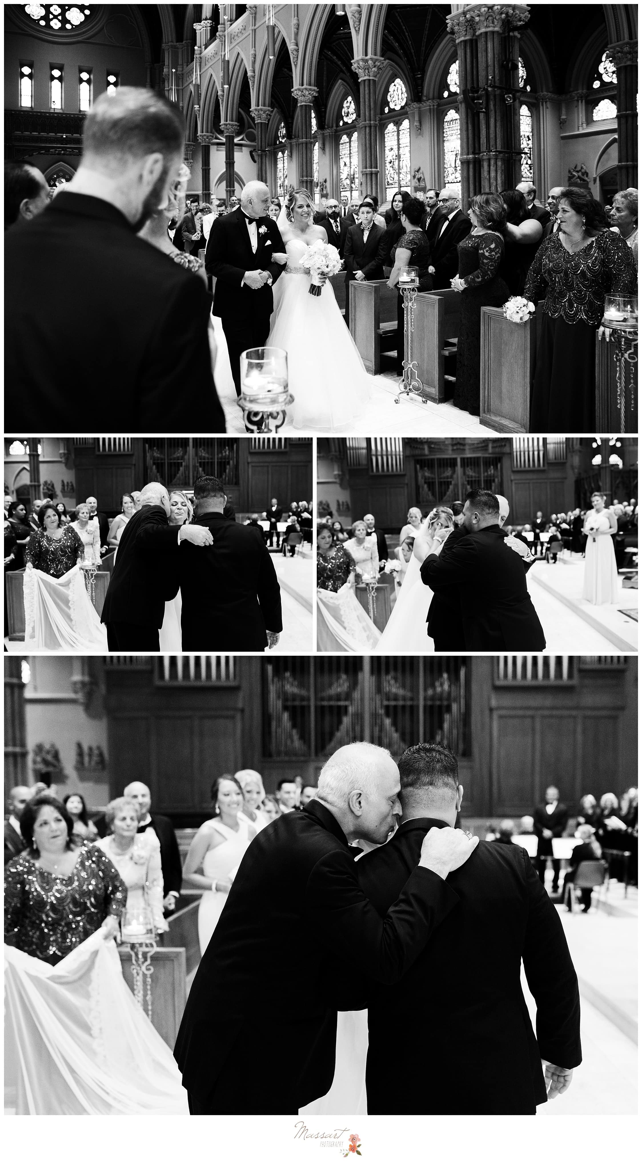 Black and white portraits of the father giving away his daughter to the groom during the Providence, Rhode Island wedding photographed by Massart Photography RI