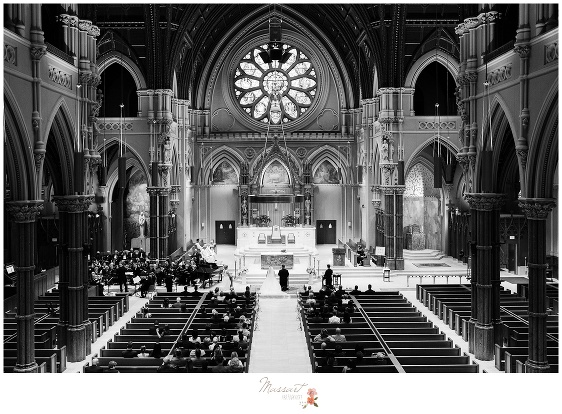Overhead view of the church during the wedding ceremony photographed by Massart Photography RI