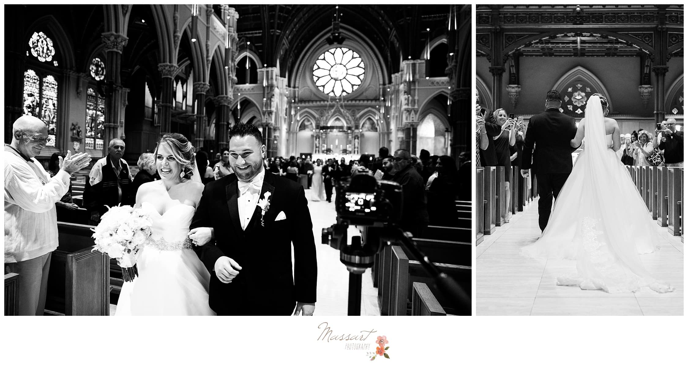 Black and white portraits of the newlyweds walking down the aisle photographed by Massart Photography Rhode Island