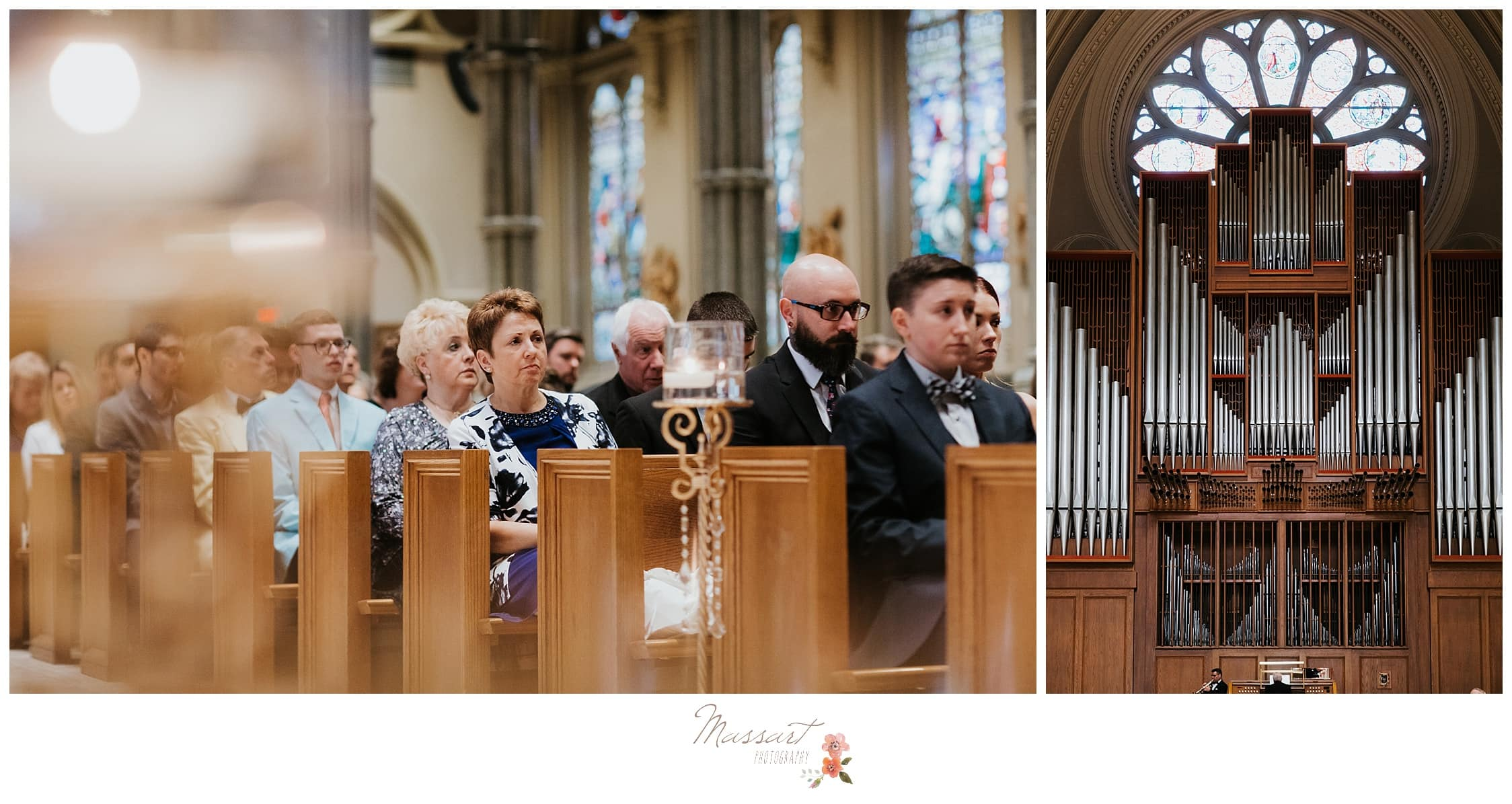 Portraits of the wedding guests and the organ at the wedding ceremony photographed by Massart Photography Rhode Island