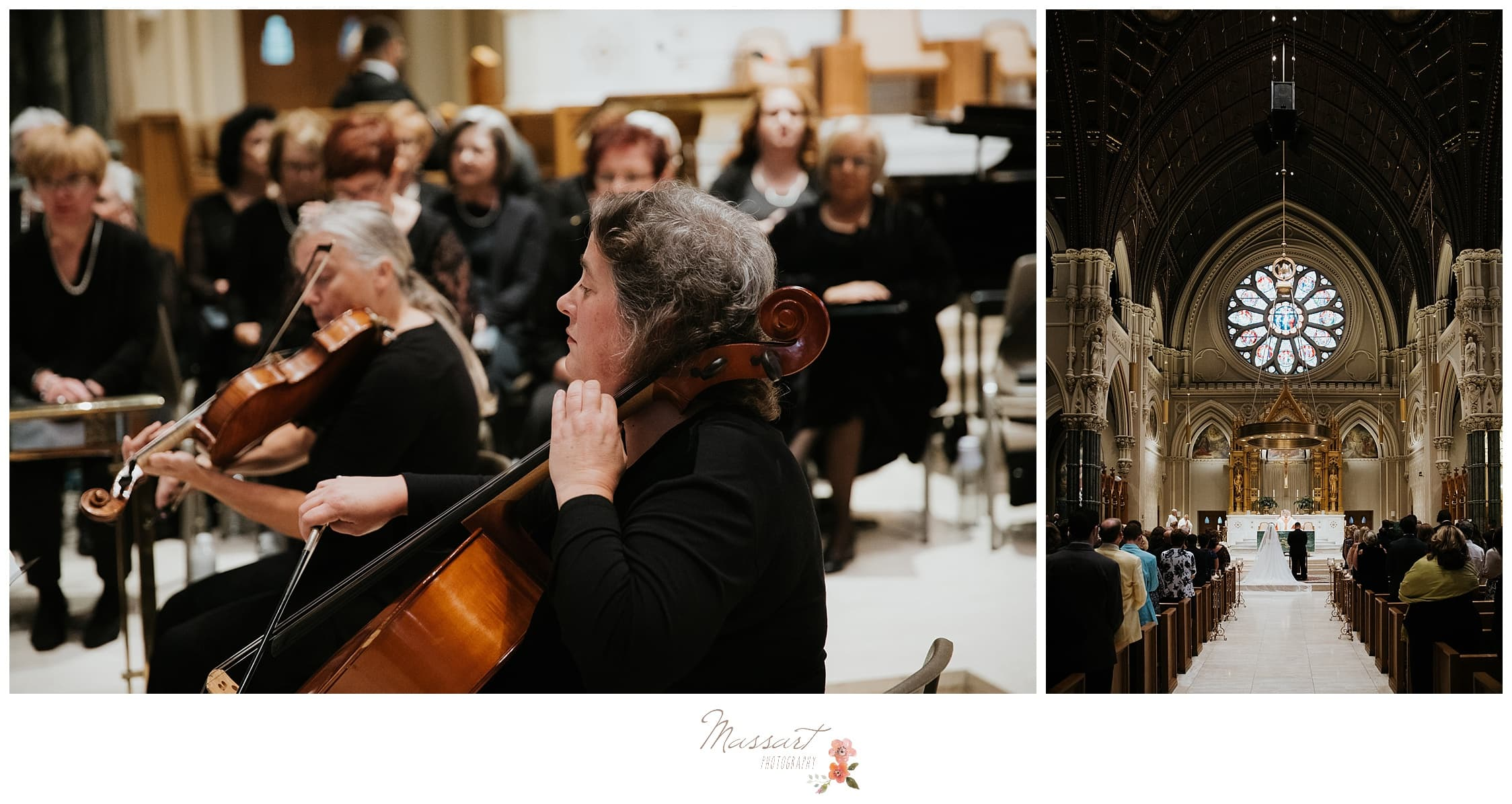 Orchestra plays at the wedding ceremony in Providence, RI photographed by Massart Photography Rhode Island