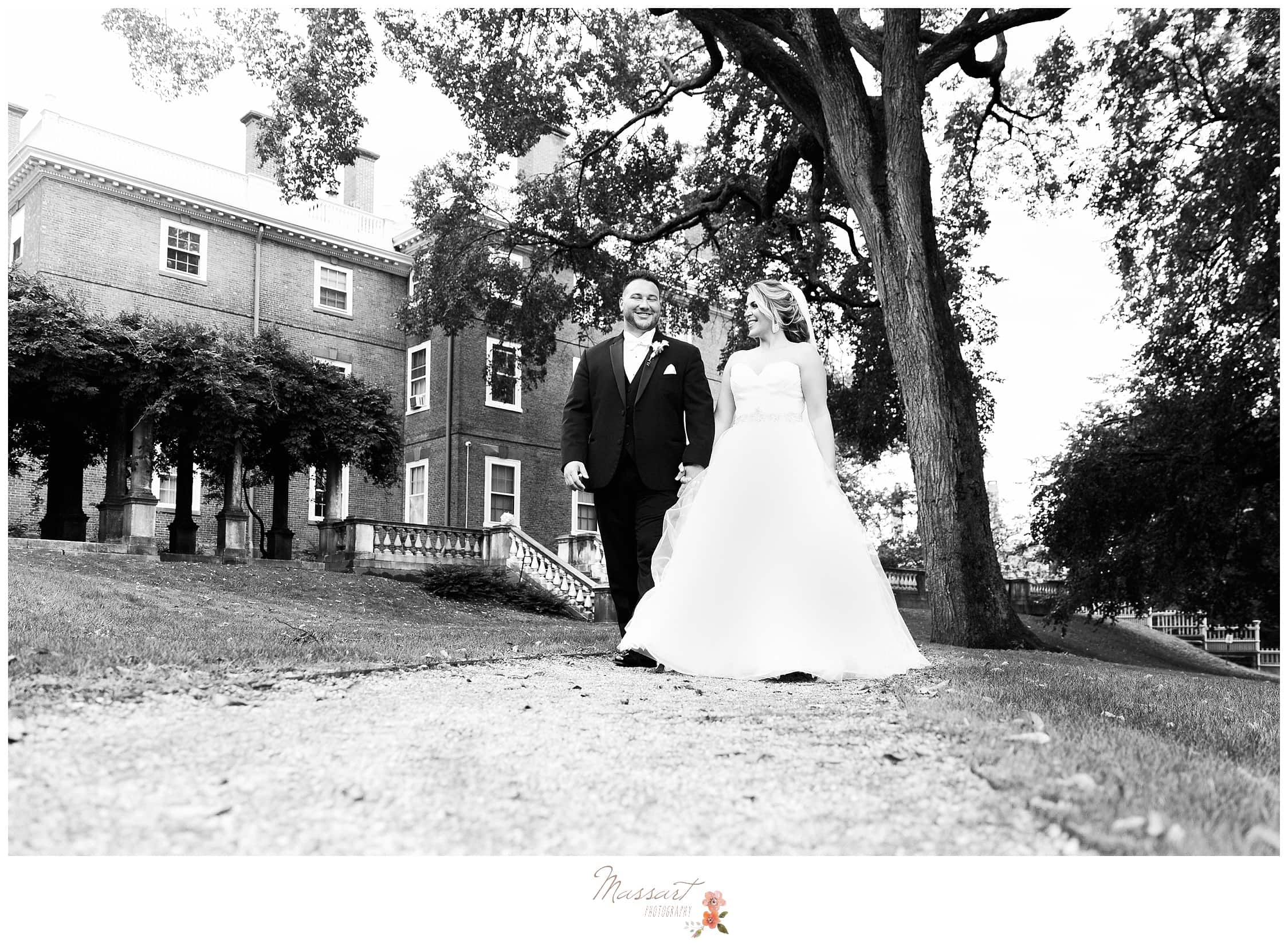 Black and white portraits of the bride and groom outdoors in Providence, Rhode Island during their formals photographed by Massart Photography RI