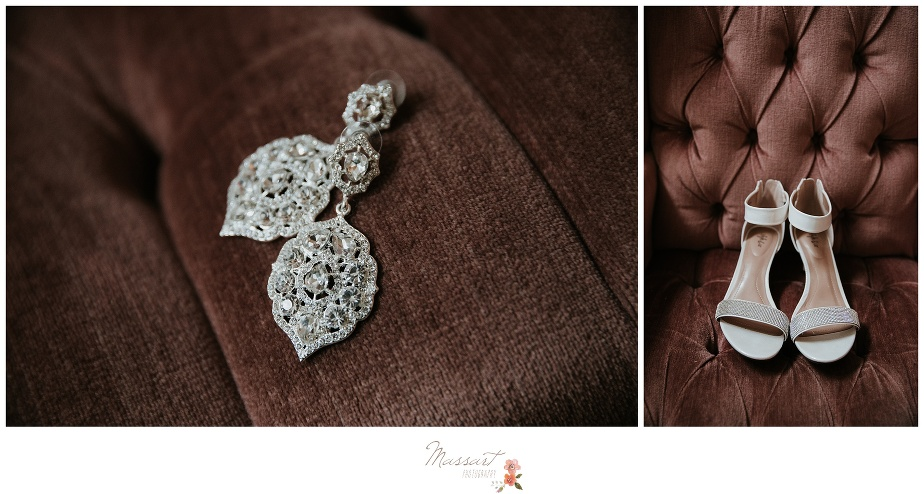 Detail portraits of the bride's earrings and shoes photographed by Massart Photography Rhode Island