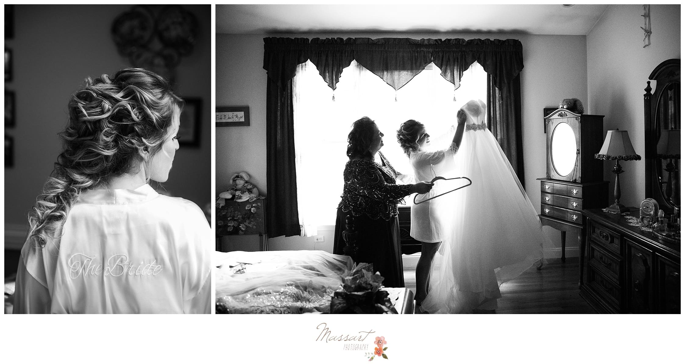 Bride puts the final touches on her hair and prepares to put on her wedding gown photographed by Massart Photography RI