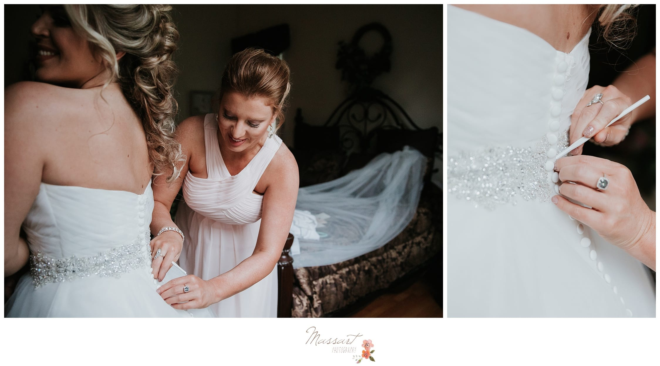 Maid of honor ties up the bride's wedding gown before the Providence, RI wedding photographed by Massart Photography Rhode Island