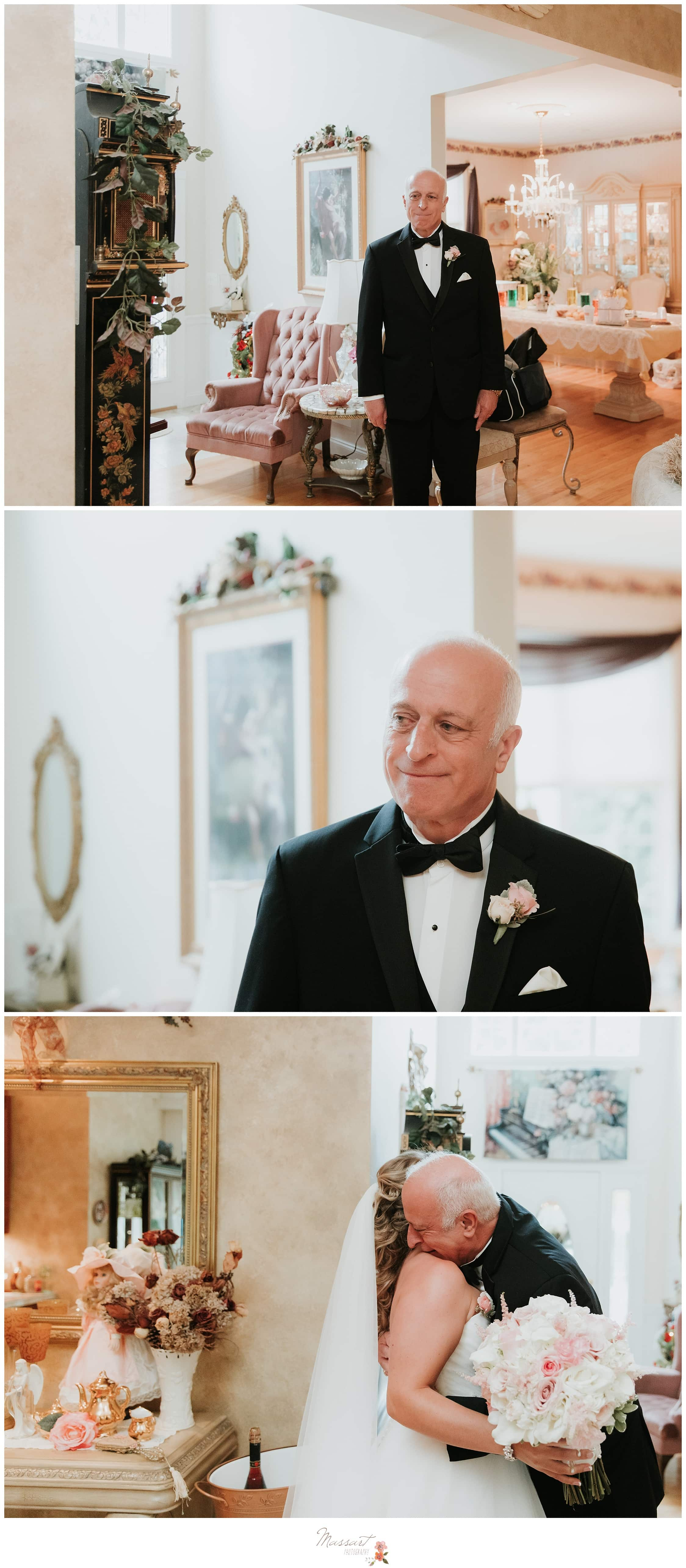 Father of the bride watches his daughter get ready for her wedding ceremony photographed by Massart Photography Rhode Island
