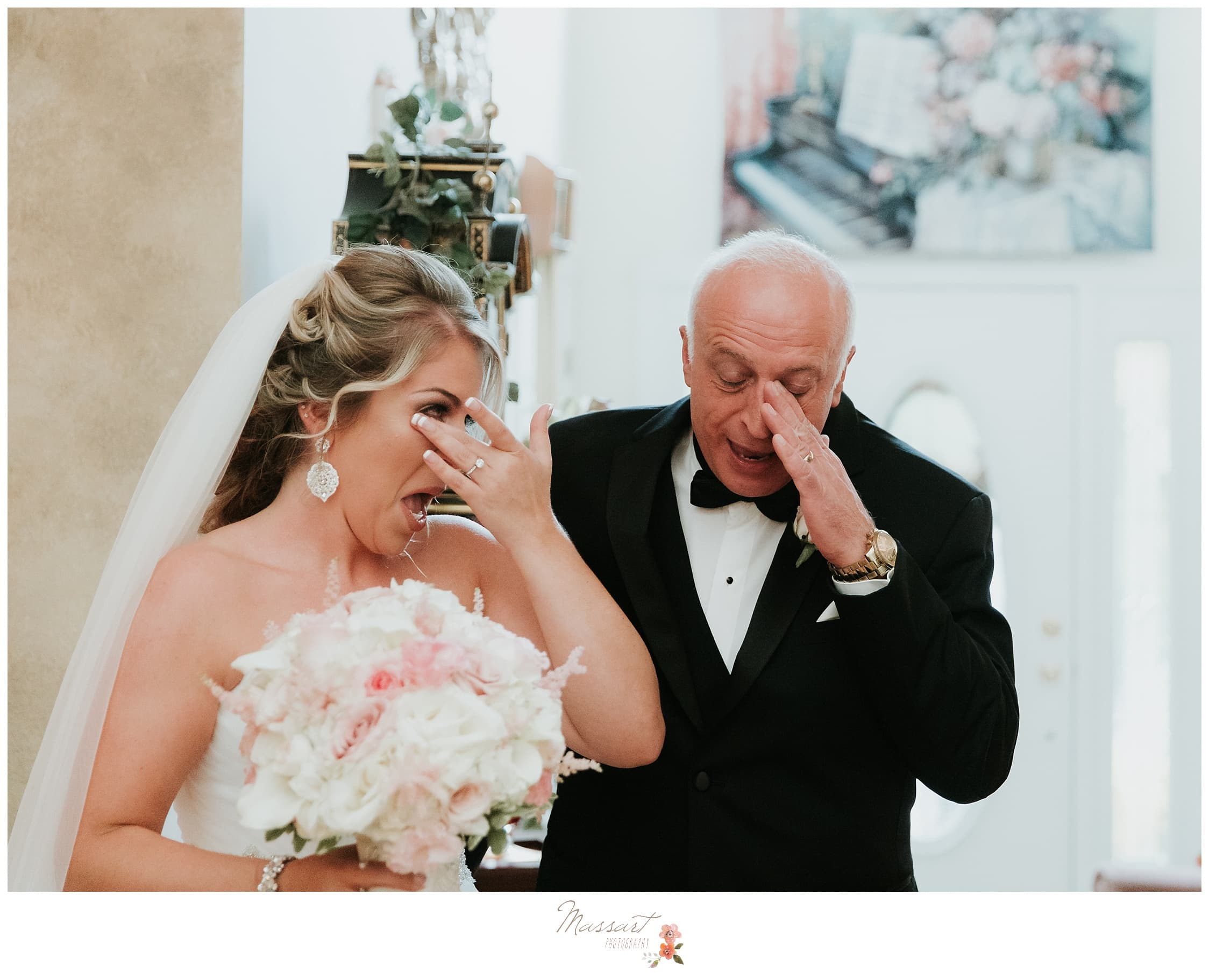 The bride and her father get emotional before walking down the aisle at the wedding ceremony photographed by Massart Photography RI
