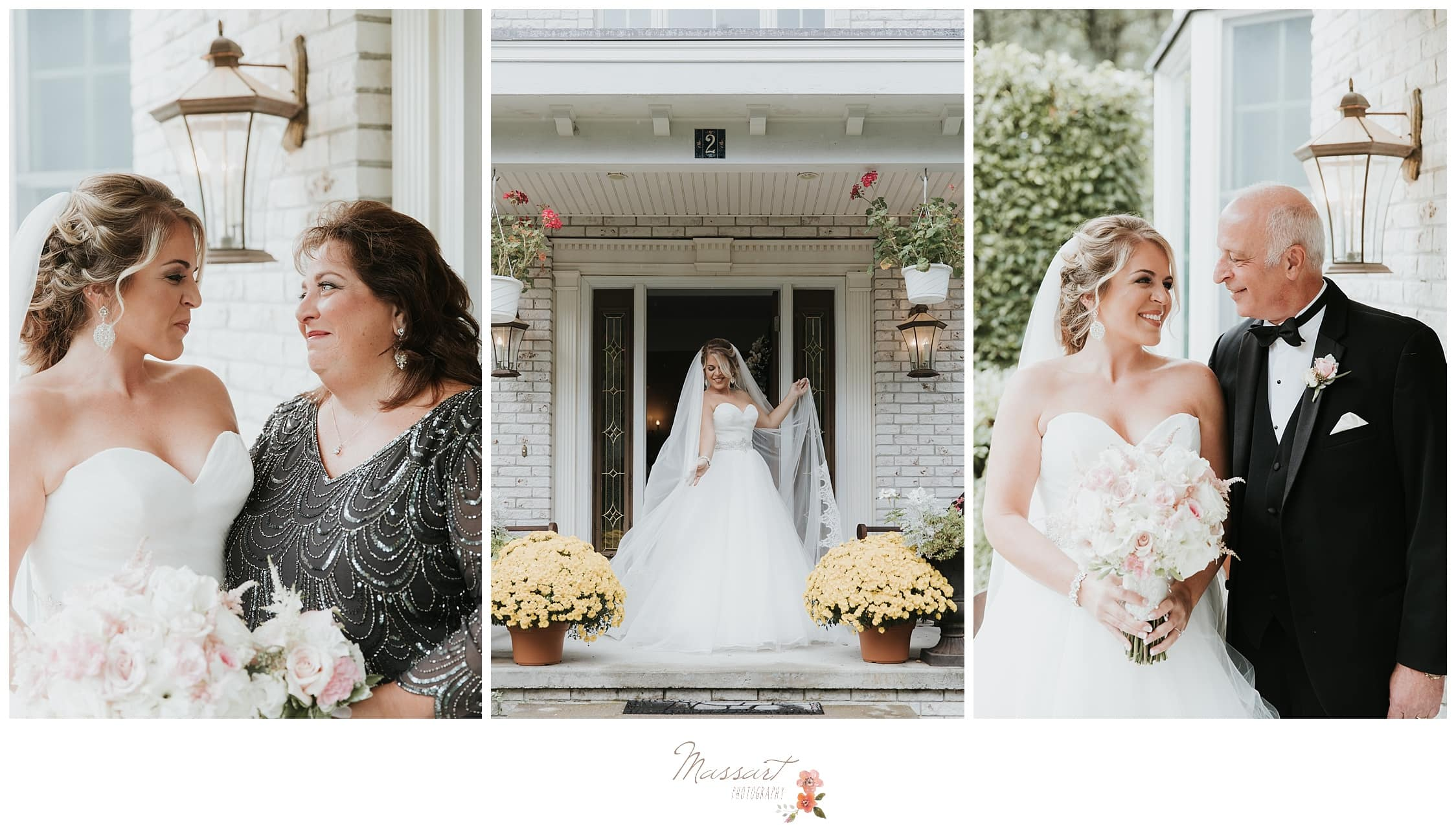 Bride stands with her parents after getting ready for the wedding ceremony photographed by Massart Photography RI