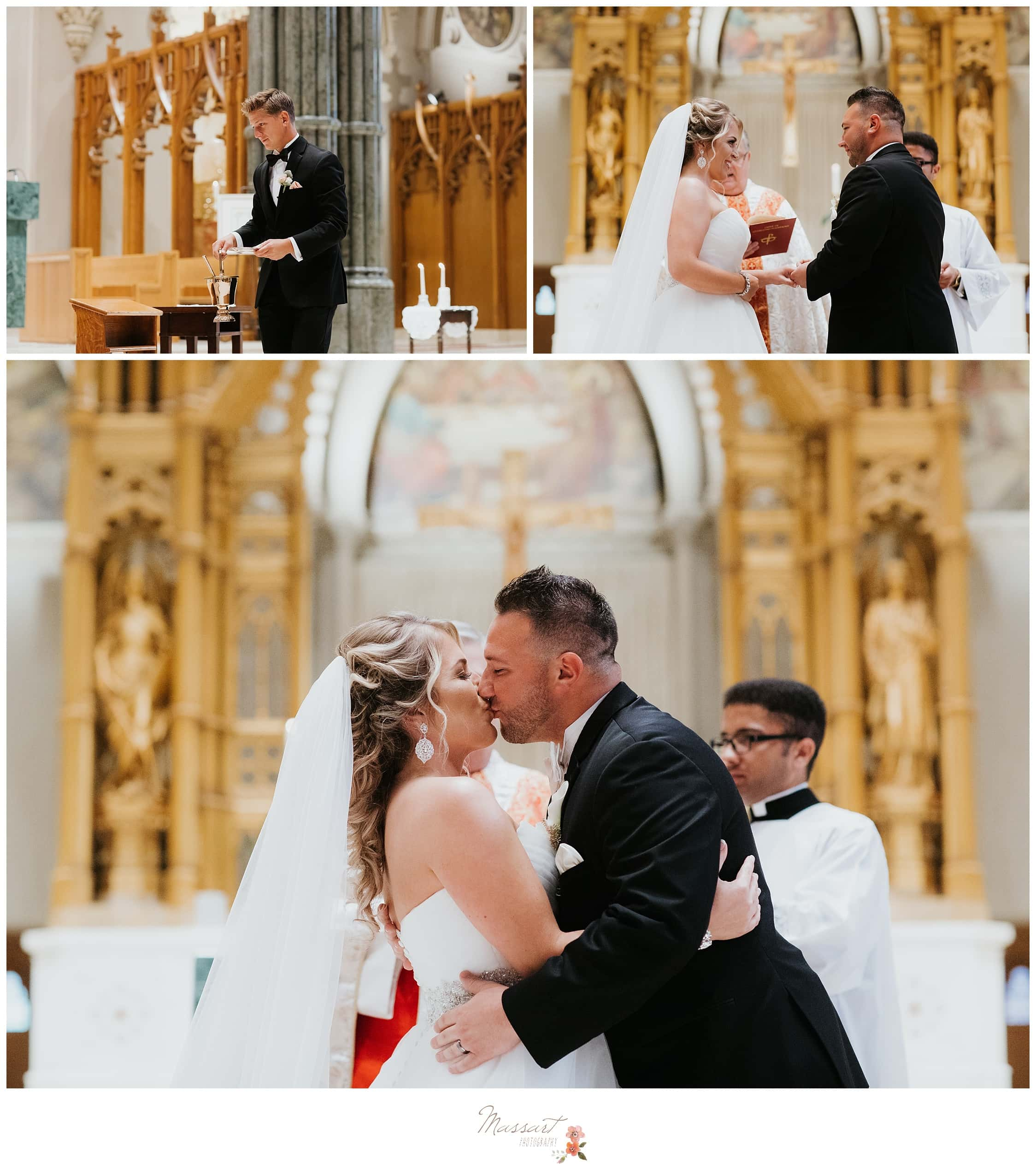 Bride and groom share first kiss as husband and wife photographed by Massart Photography RI