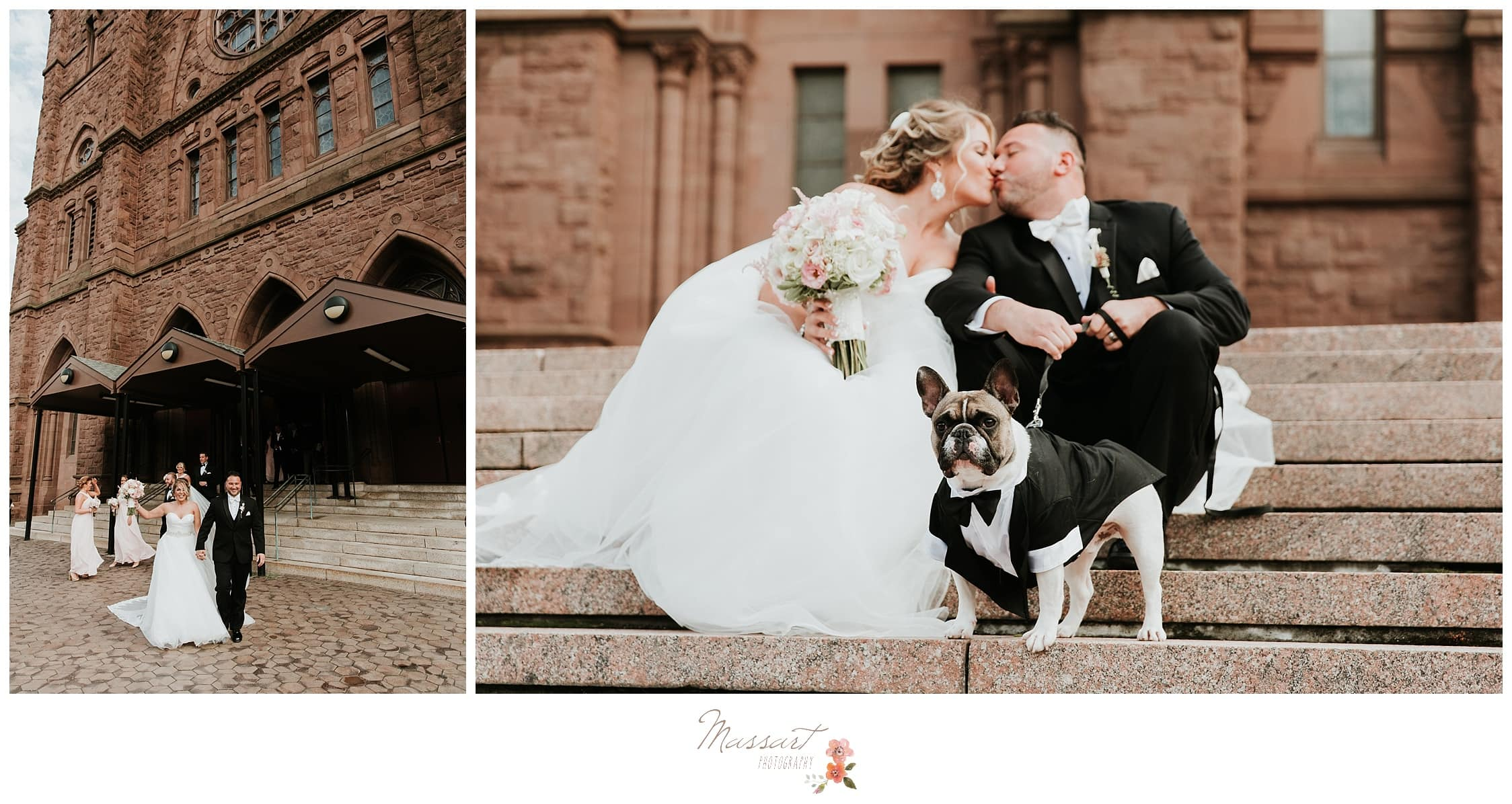 Bride and groom outside the church with their dog photographed by Massart Photography RI