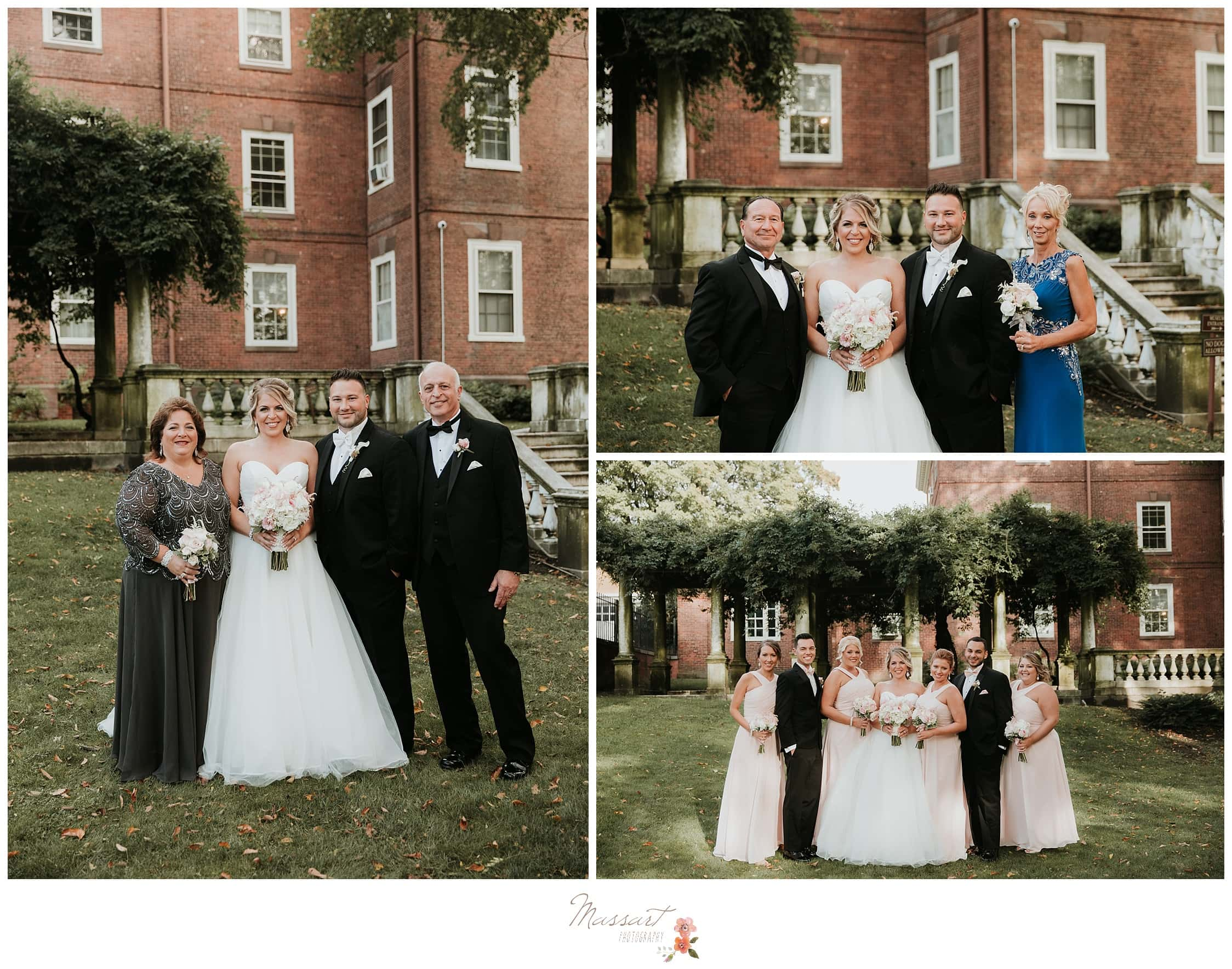 Bride and groom take their formal portraits after wedding ceremony photographed by Massart Photography Rhode Island