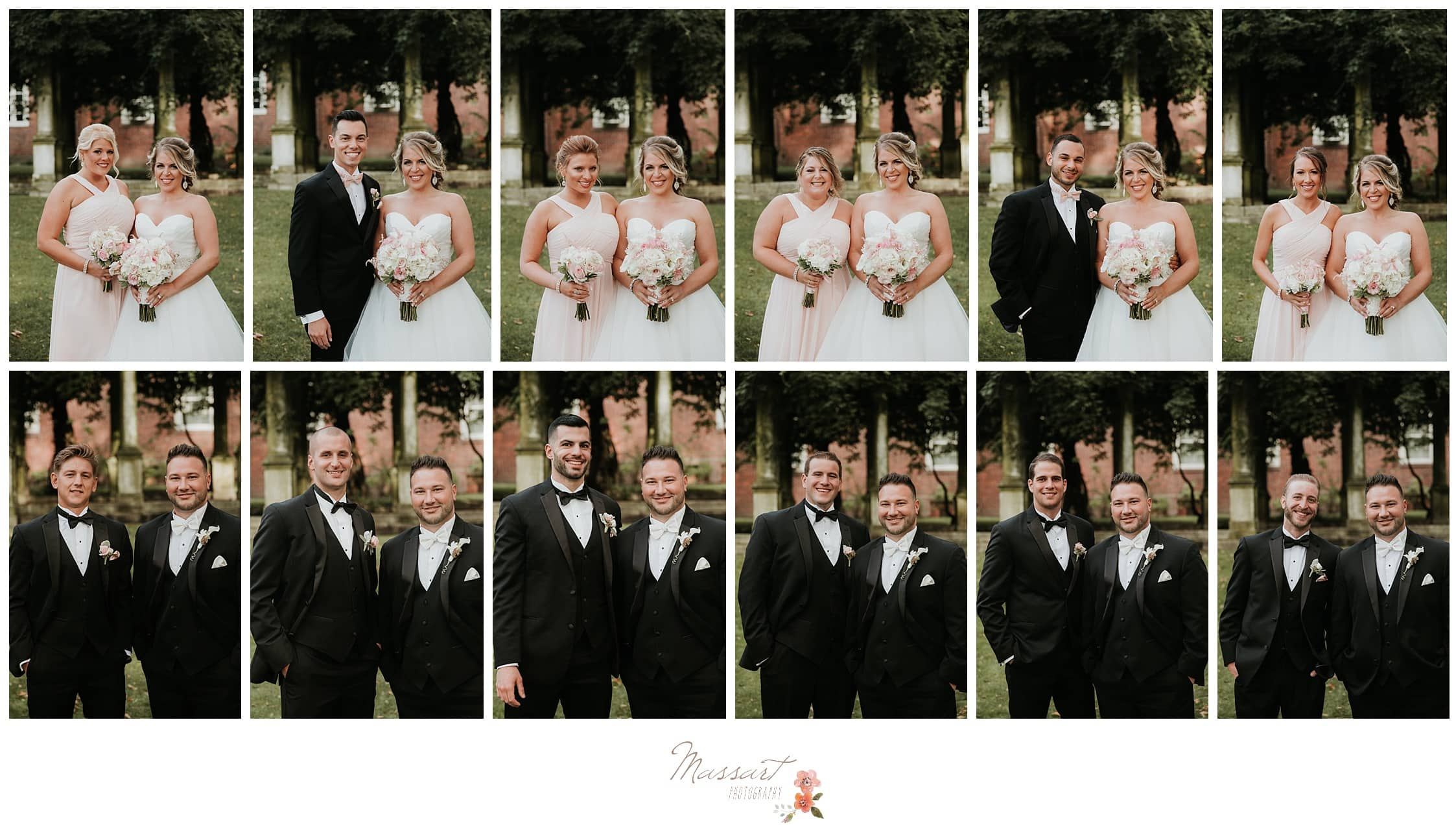 Bride with her bridal party and the groom with his groomsmen photographed by Massart Photography RI