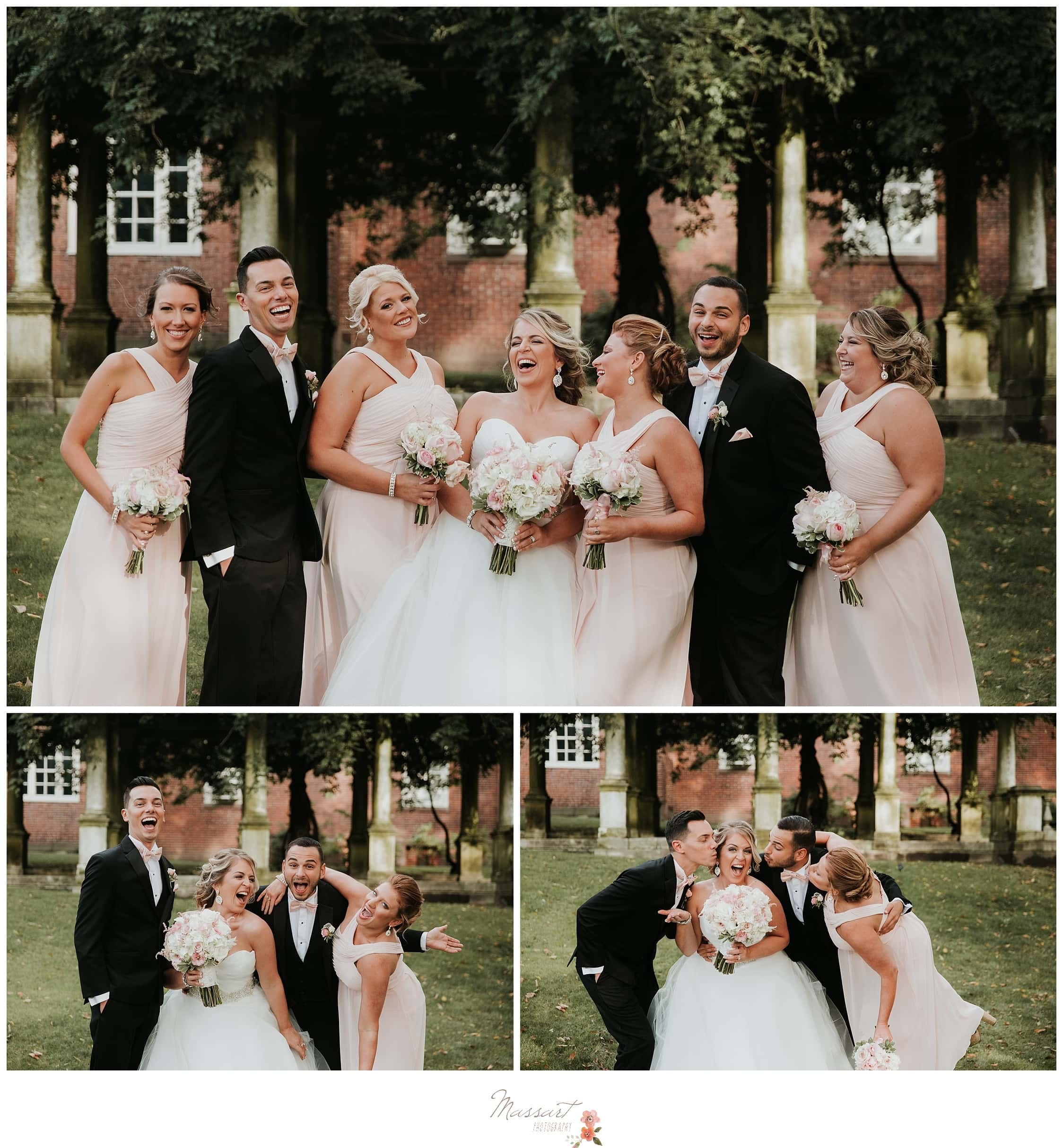 Bride takes formal outdoor portraits with the bridal party photographed by Massart Photography Rhode Island