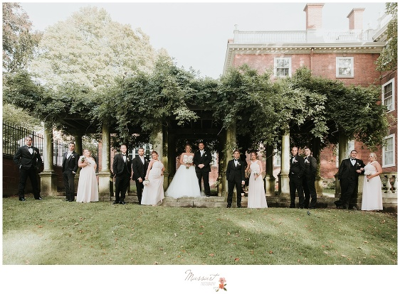 The bride, groom, bridal party and groomsmen stand under greenery in Providence, RI photographed by Massart Photography RI