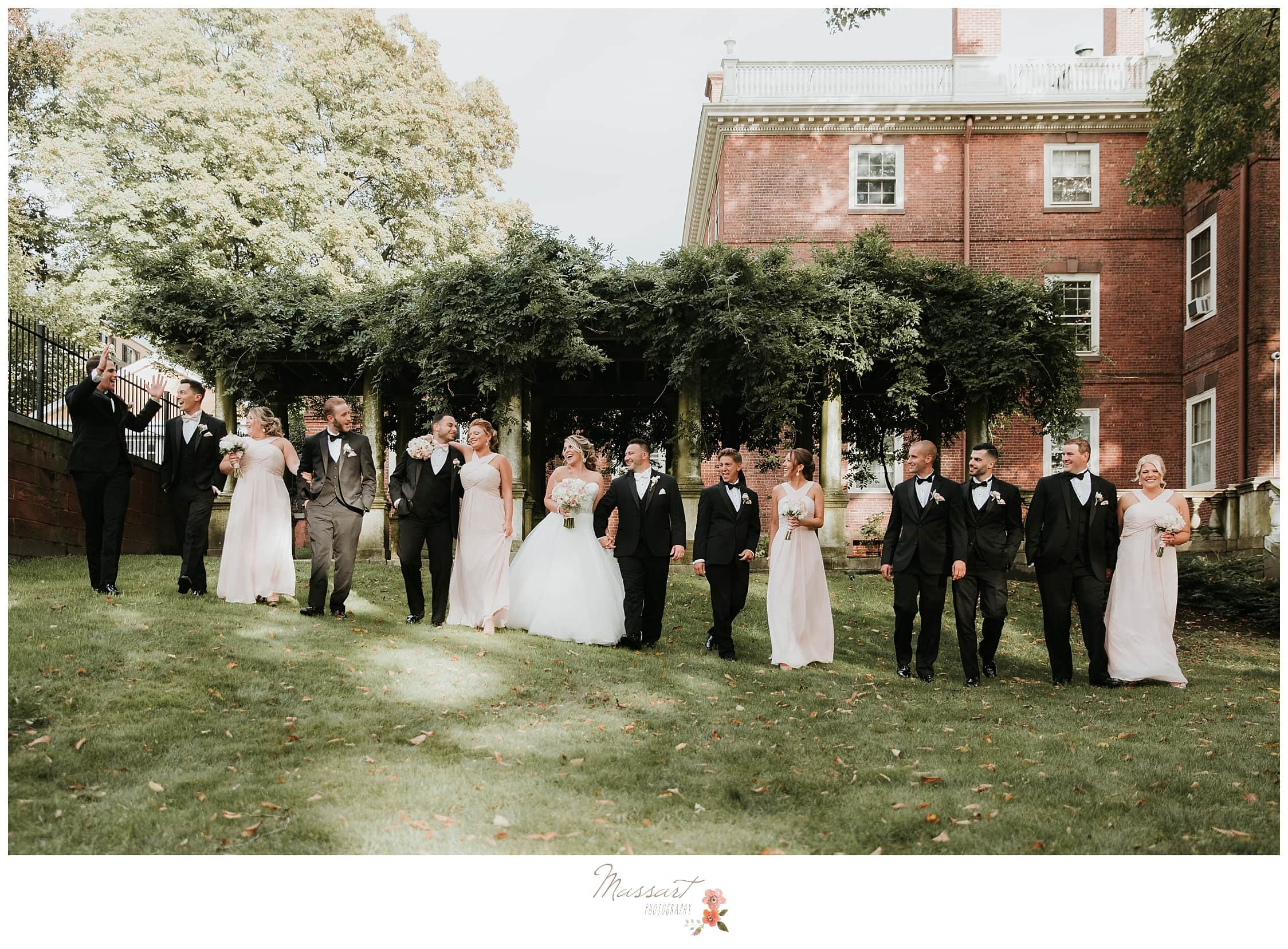 Formal portraits of the entire wedding party with the newlyweds photographed by Massart Photography Rhode Island