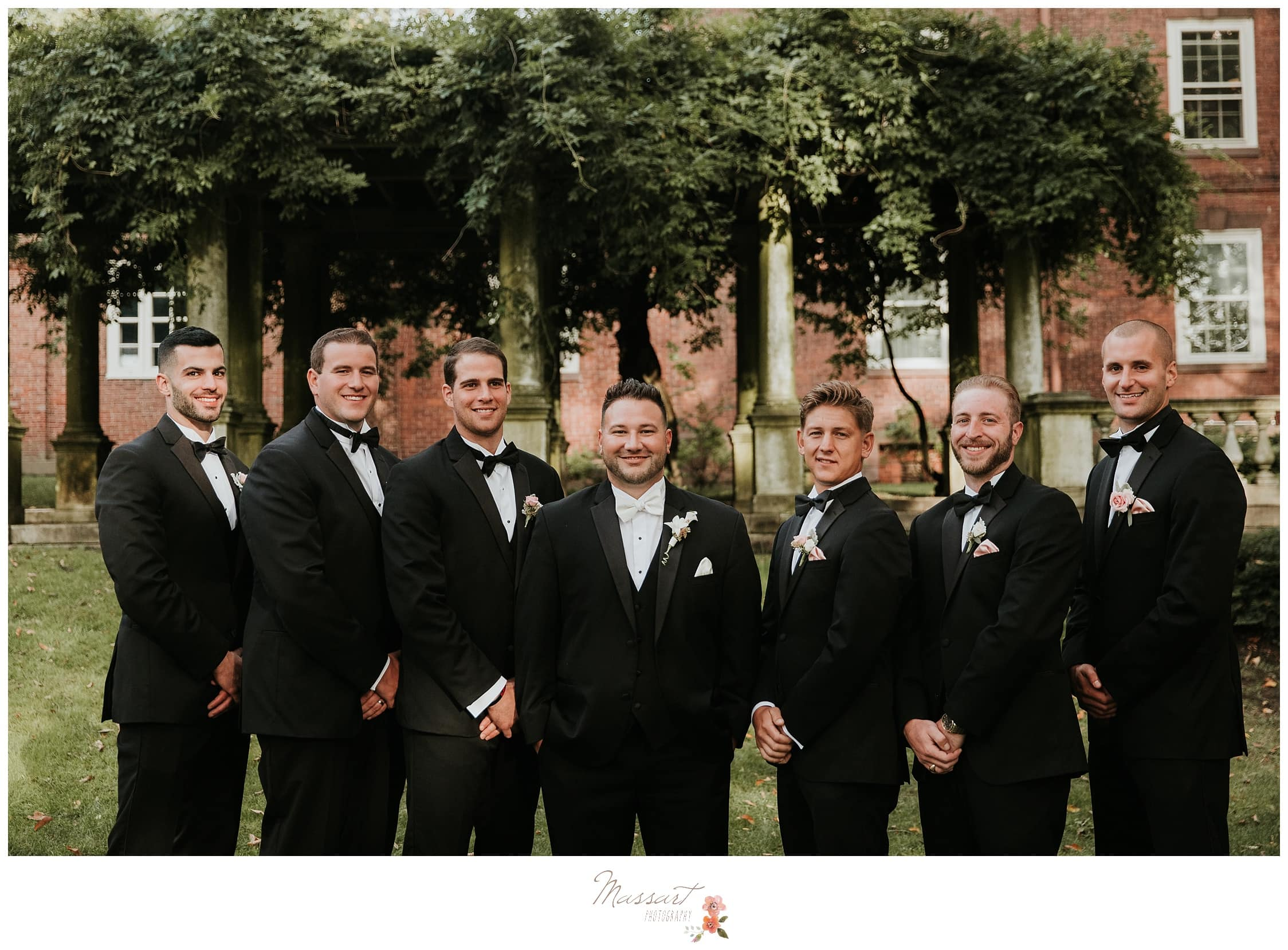 Formal portraits of the groom and groomsmen photographed by Massart Photography Rhode Island