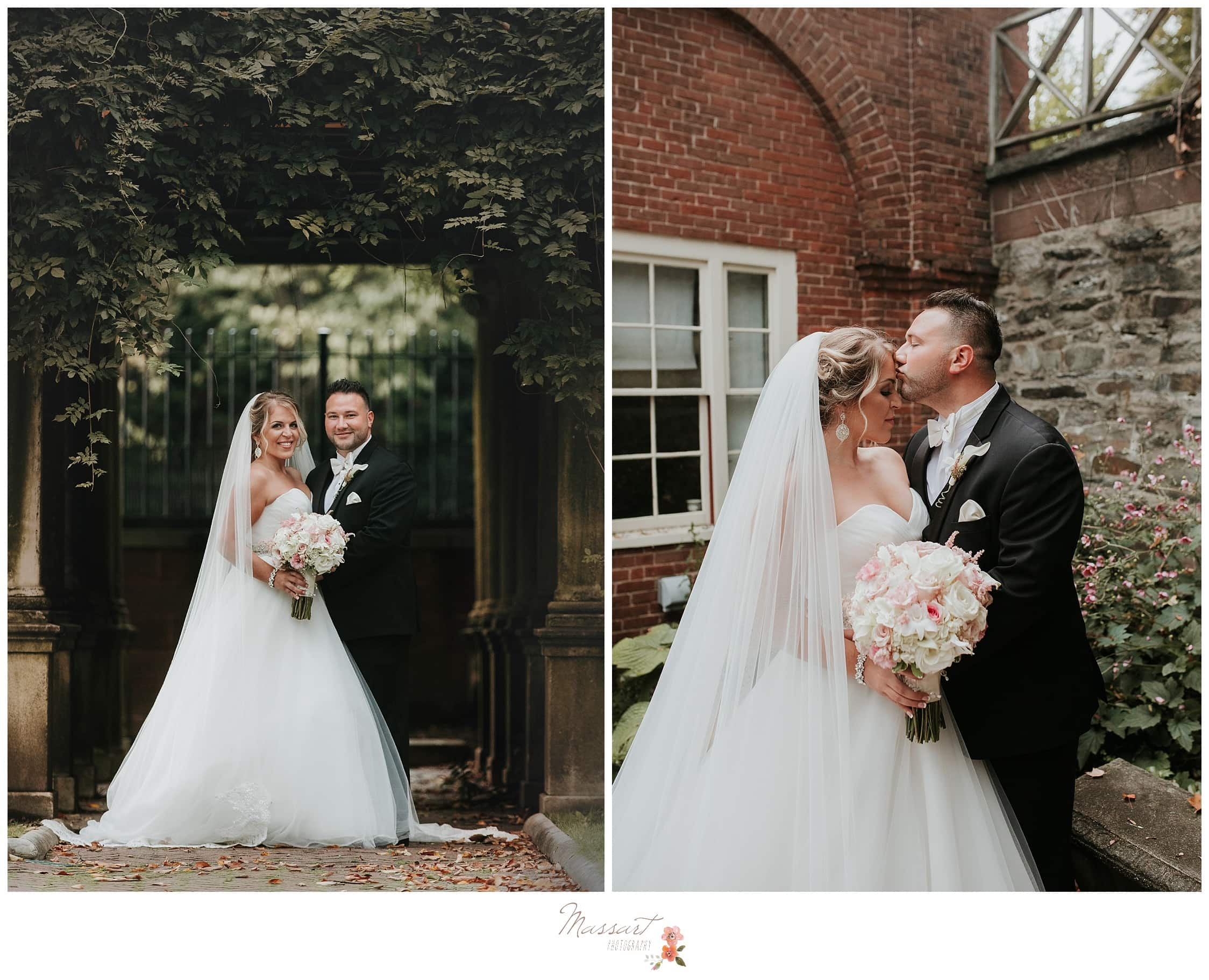 Formal portraits of the bride and groom in rustic Providence Rhode Island photographed by Massart Photography RI