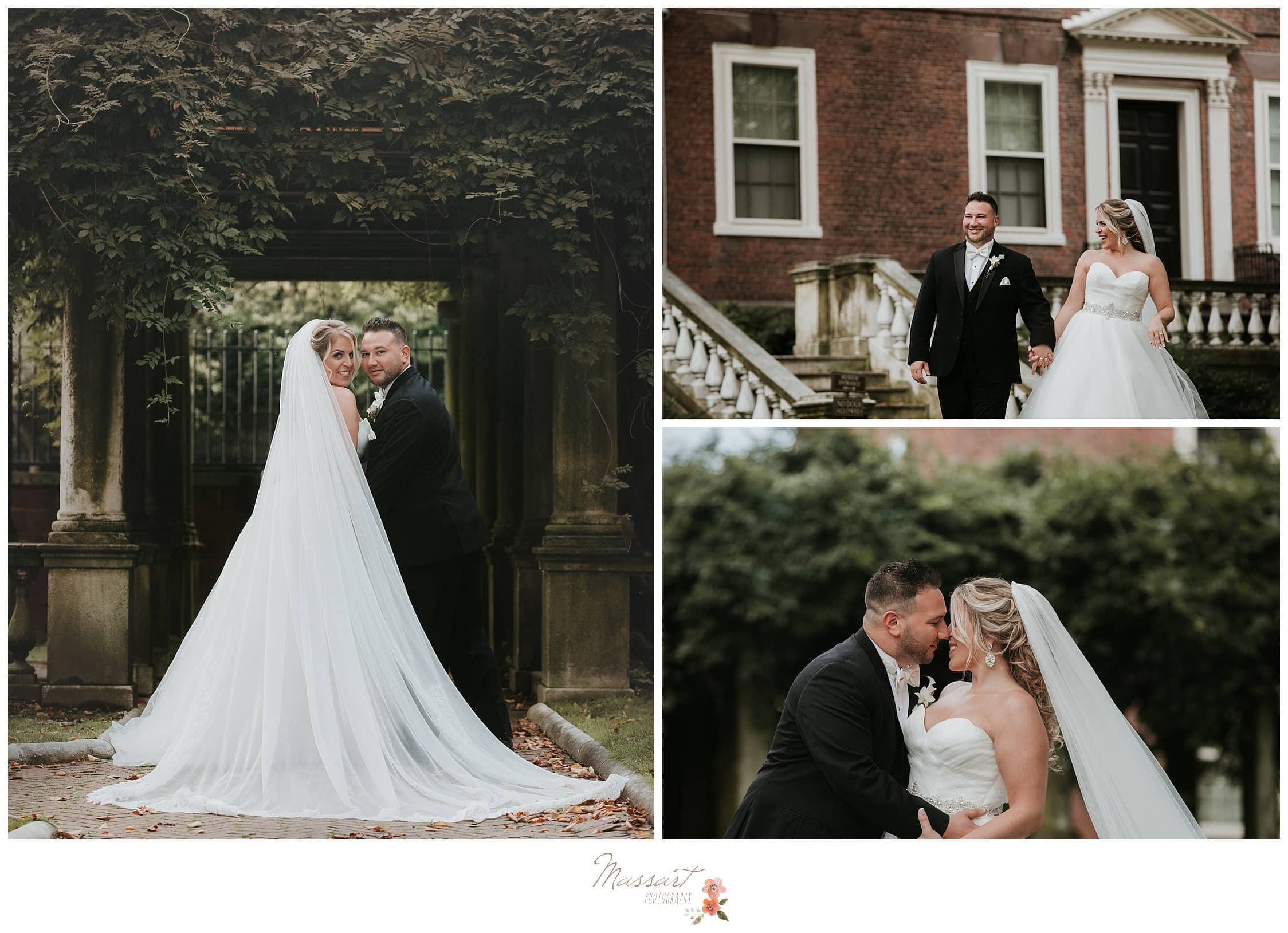 Formal outdoor portraits of the newlyweds in Providence photographed by Massart Photography of Warwick, Rhode Island