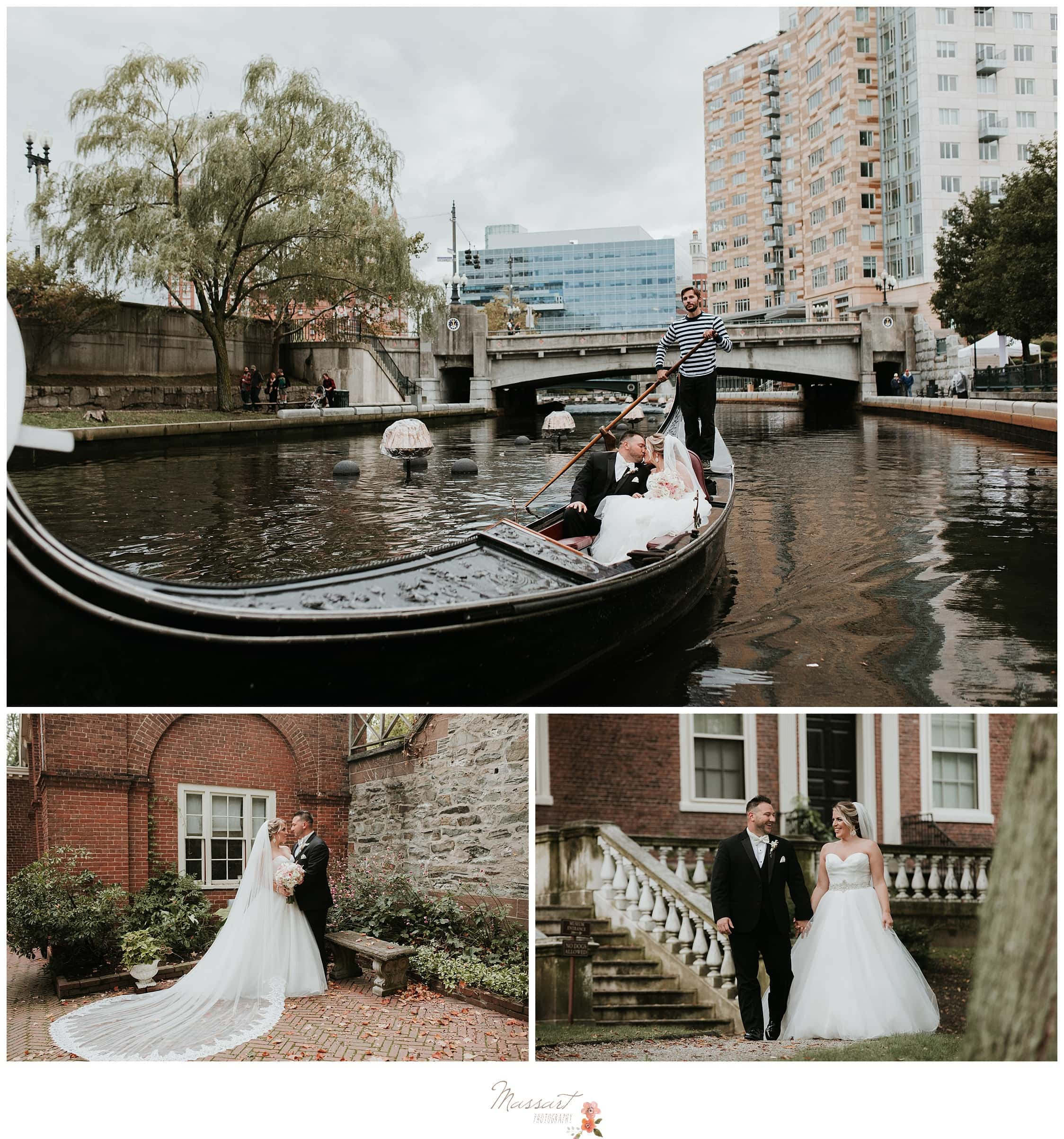 Bride and groom walk to Waterpark Place for their gondola ride around the river photographed by Massart Photography Rhode Island