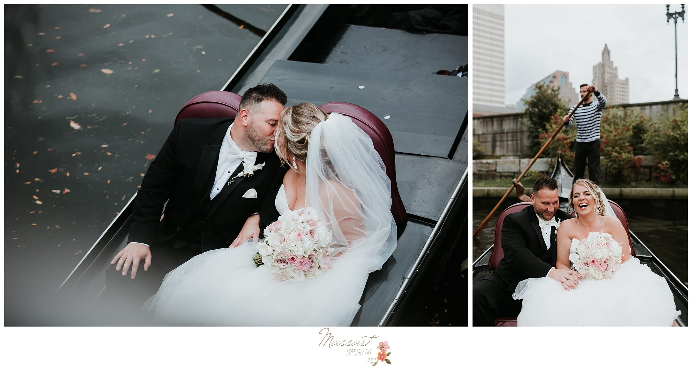 Newlyweds share a kiss on their romantic gondola ride photographed by Massart Photography RI