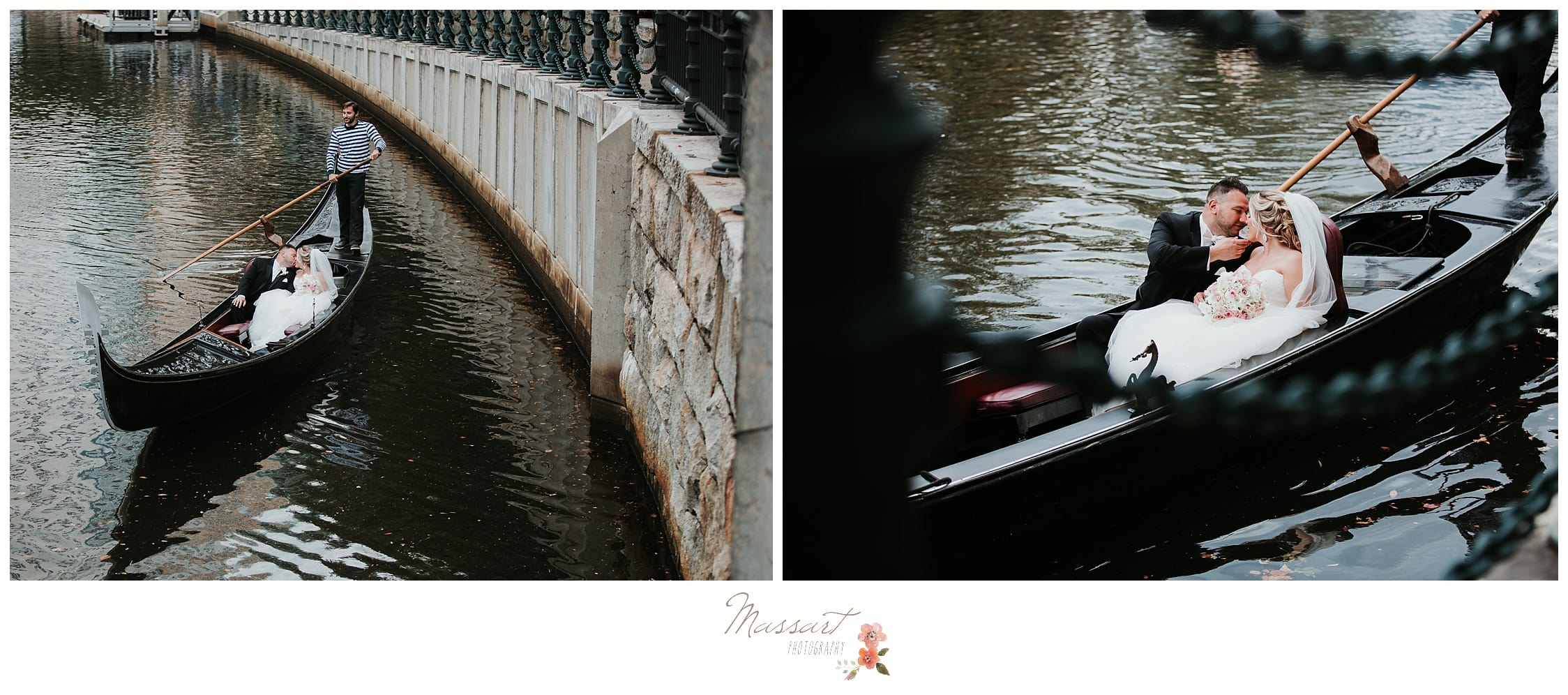 Overhead shot of the bride and groom on their gondola ride photographed by Massart Photography RI