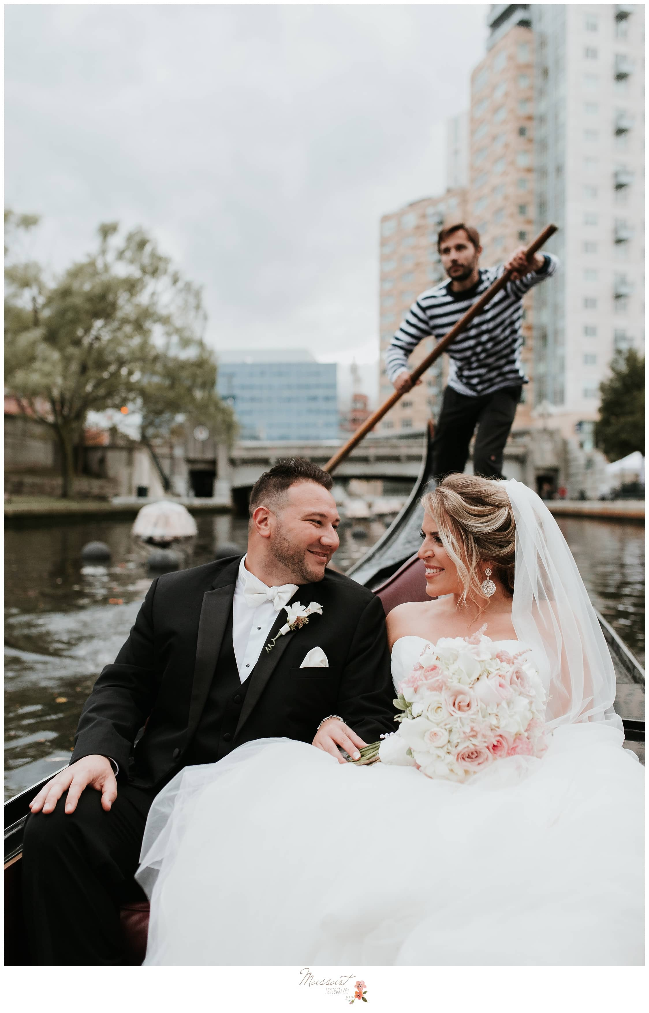 Romantic gondola ride around the river with the newlyweds photographed by Massart Photography RI